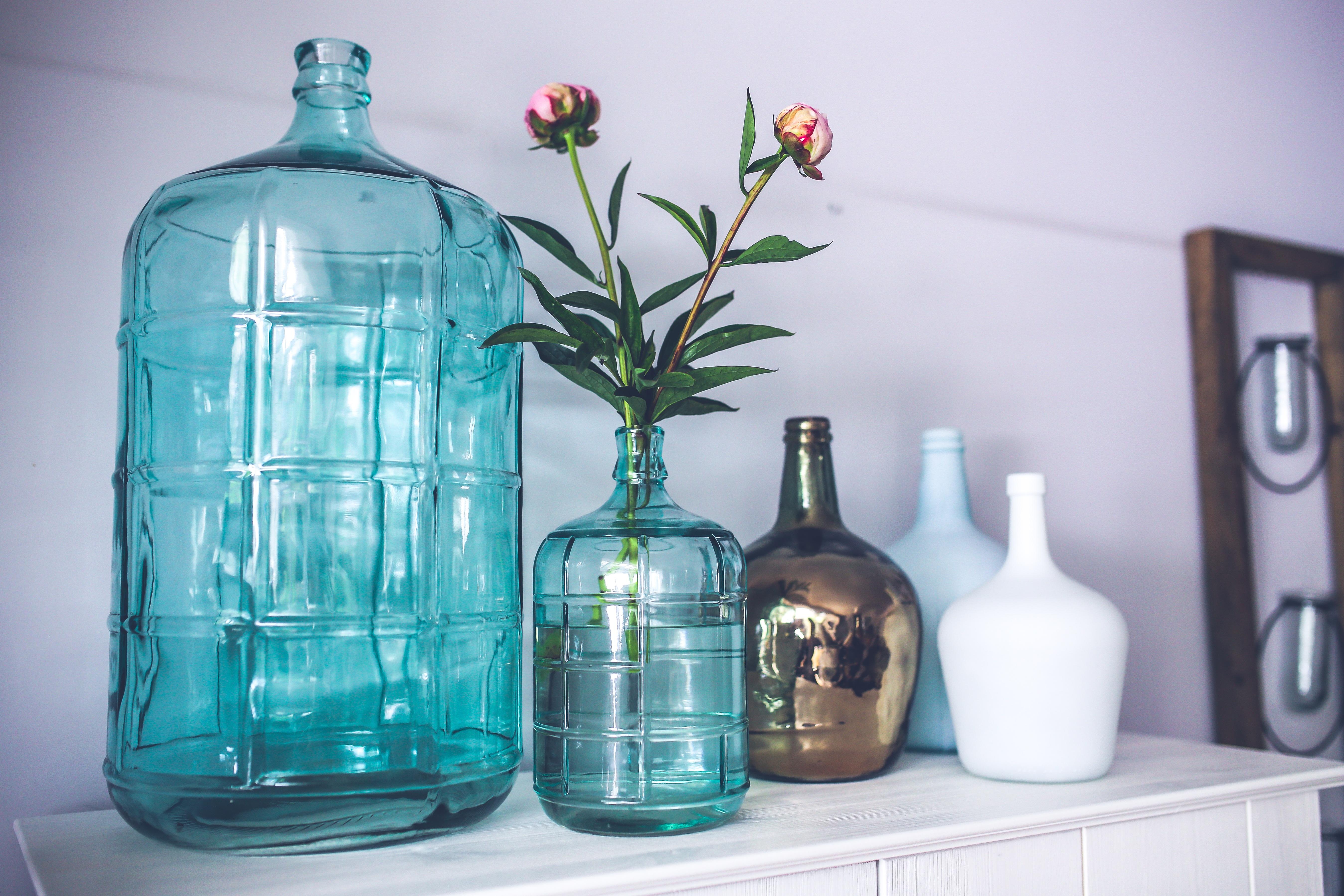 Free images flower vase decoration blue decor tableware flower glass vase decoration bottle blue decor tableware glass bottle mason jar product dutch scandinavian carafe reviewsmspy