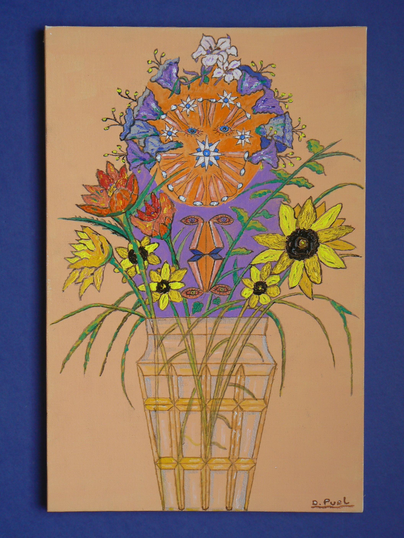 Gambar Kaca Jeruk Pola Kuning Lukisan Bunga Bunga