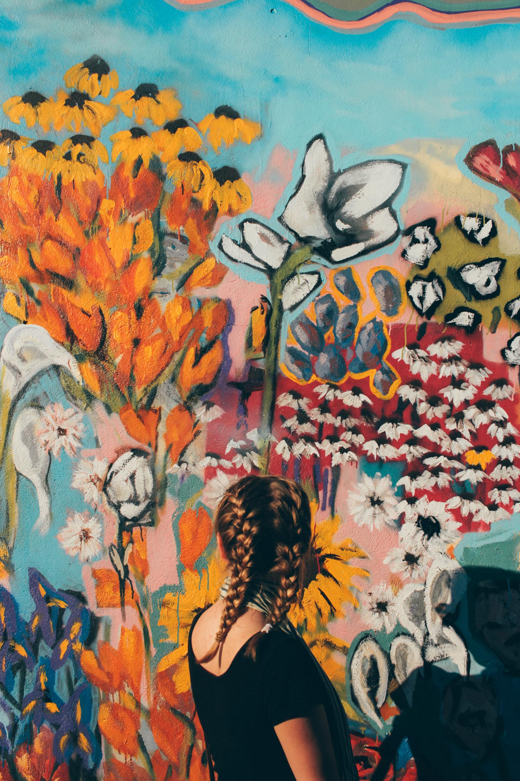 Gambar Bunga Ilustrasi Lukisan Dinding Kolase Seni Modern