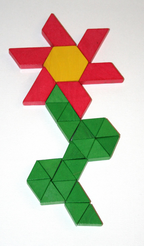 Gambar Bunga Pola Hijau Geometris Merah Kuning