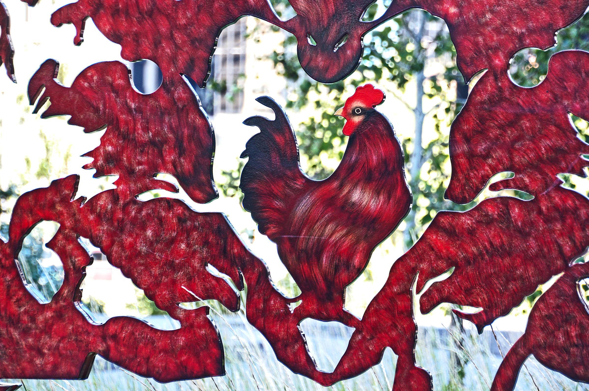 Gambar Bunga Pola Merah Ayam Jantan Ilustrasi Budaya Sony