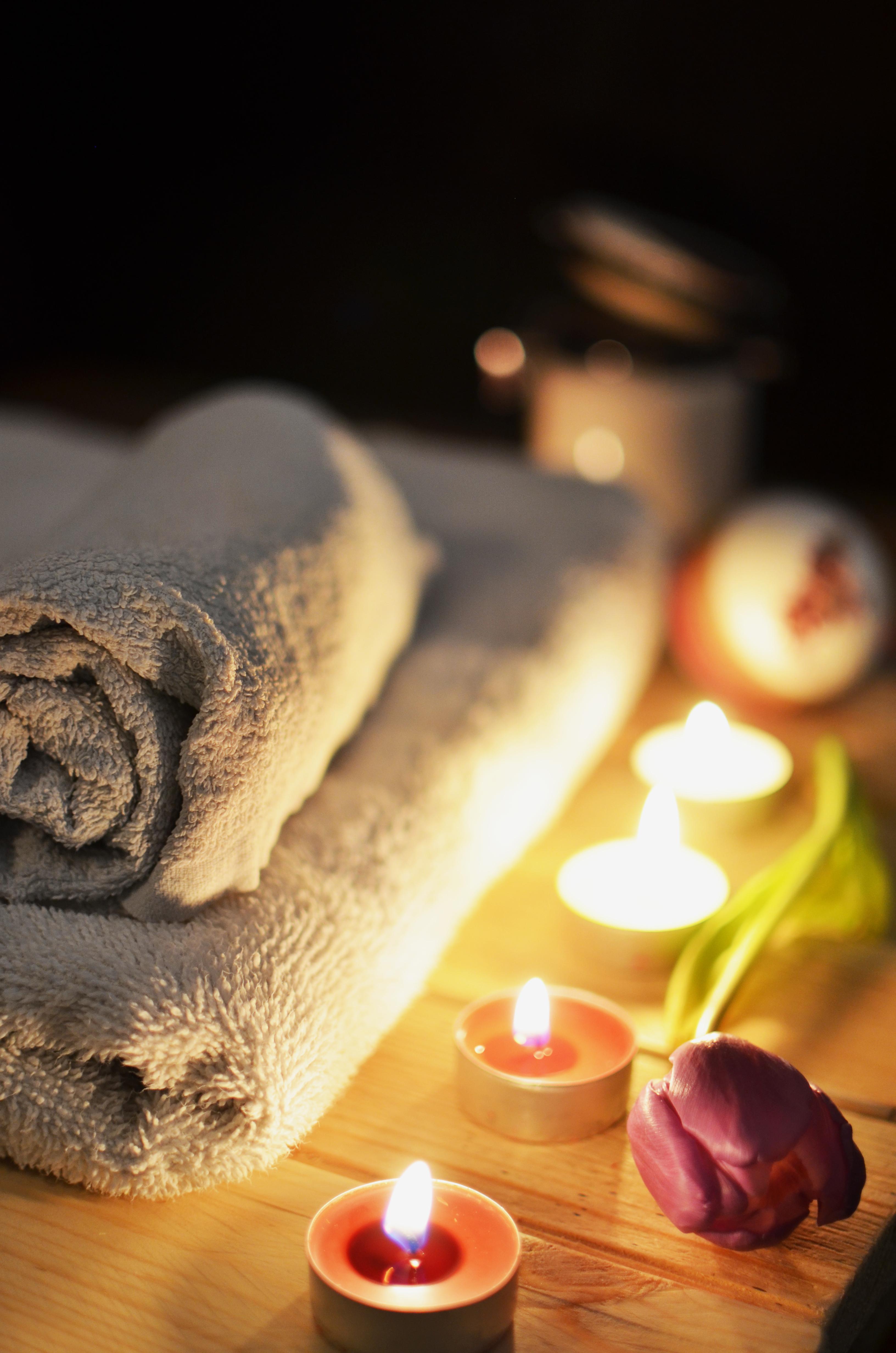 Flower Rose Romance Romantic Candle Lighting Bathroom Candles Spa Towels  Bath Candlelight Sweetness Wellness
