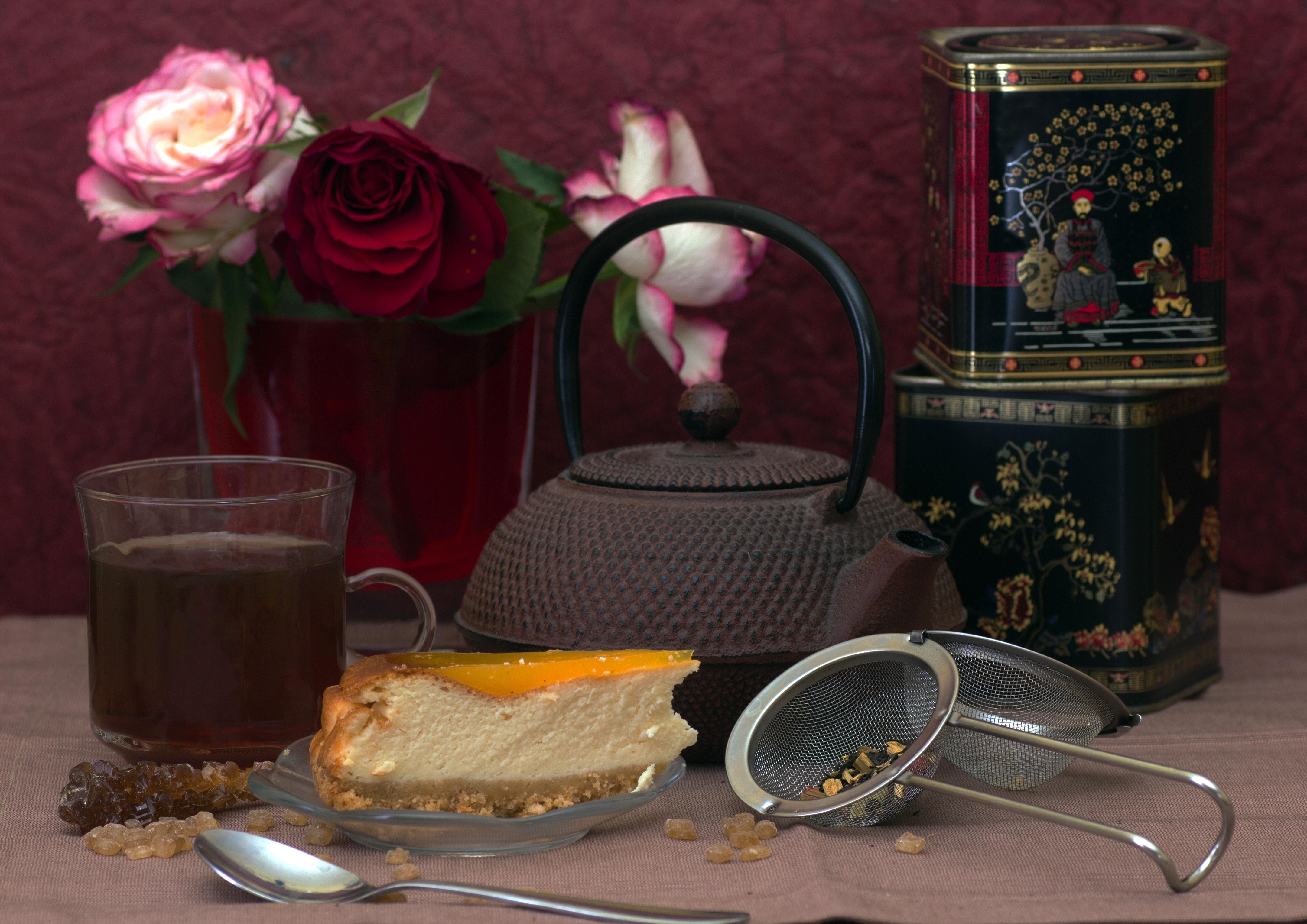 Kostenlose foto : Blume, Teekanne, Pot, Beleuchtung, Kuchen ...