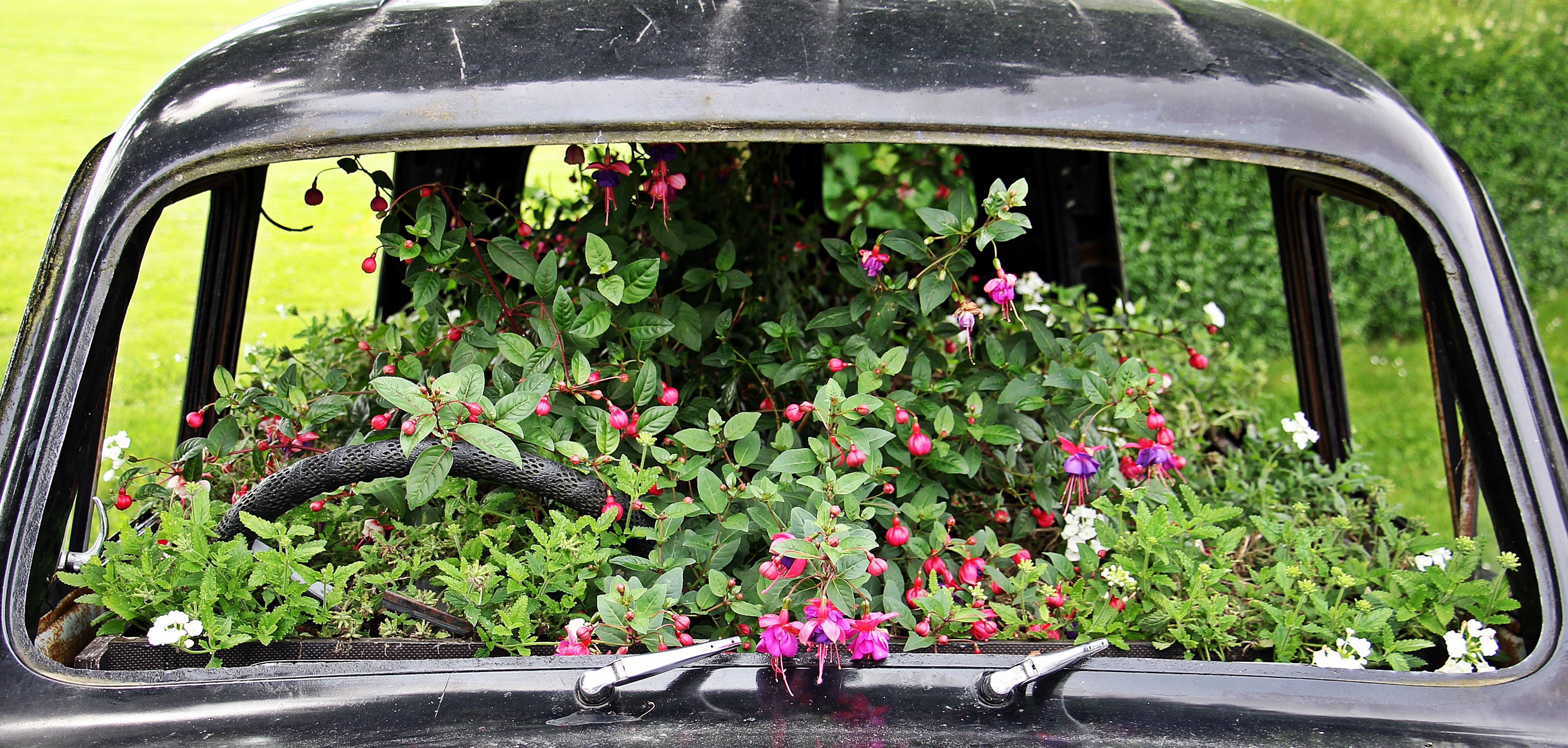 Flower Window Vehicle Auto Garden Deco Flowers Planted Flowers Bumper  Planted Car Automotive Exterior