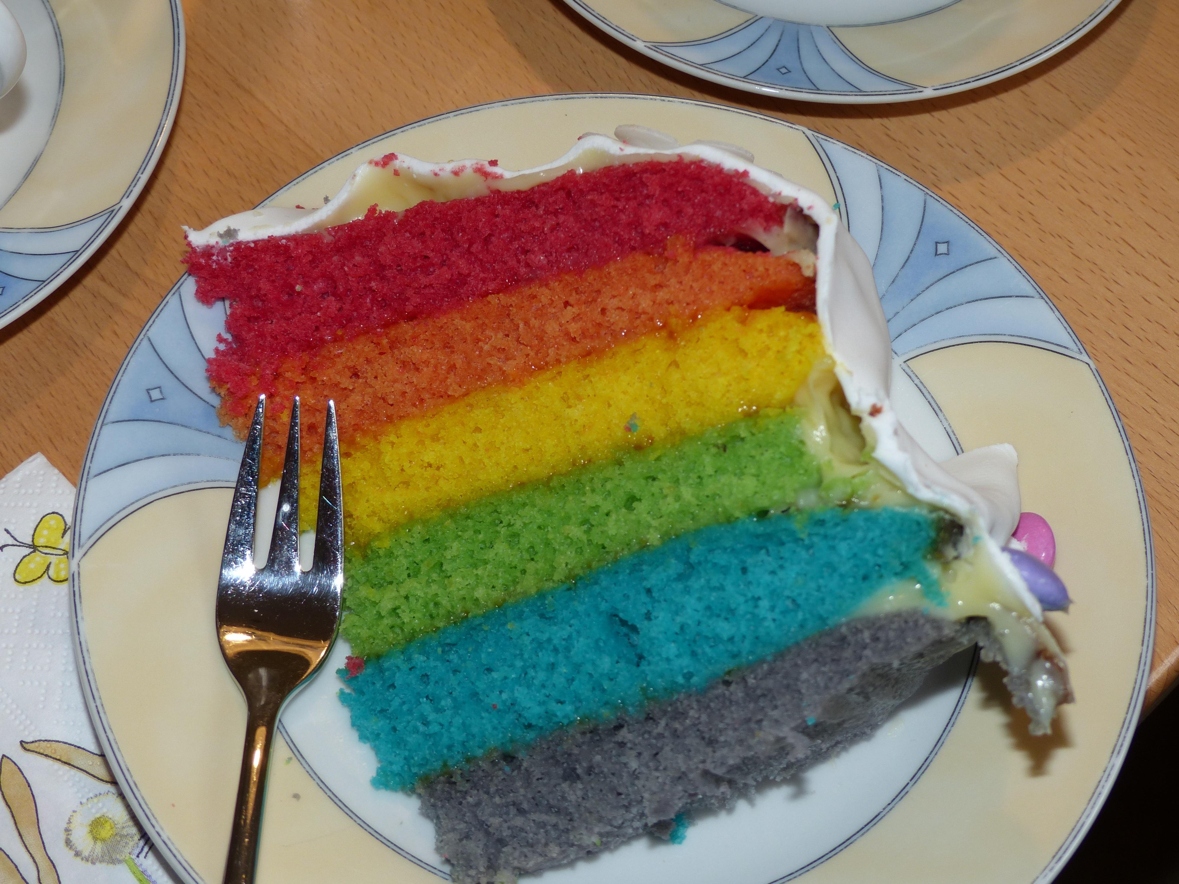 fotos gratis comida color postre cocina pastel de cumpleaos arco iris formacin de hielo dulzura colores del arcoiris torta pedazo de pastel
