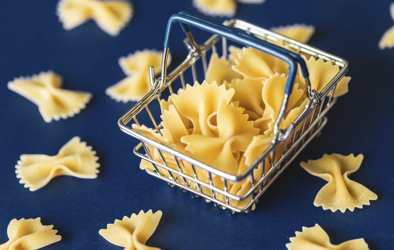 Immagini Belle Pasta Sfondo Cestino Blu Carboidrato Classico