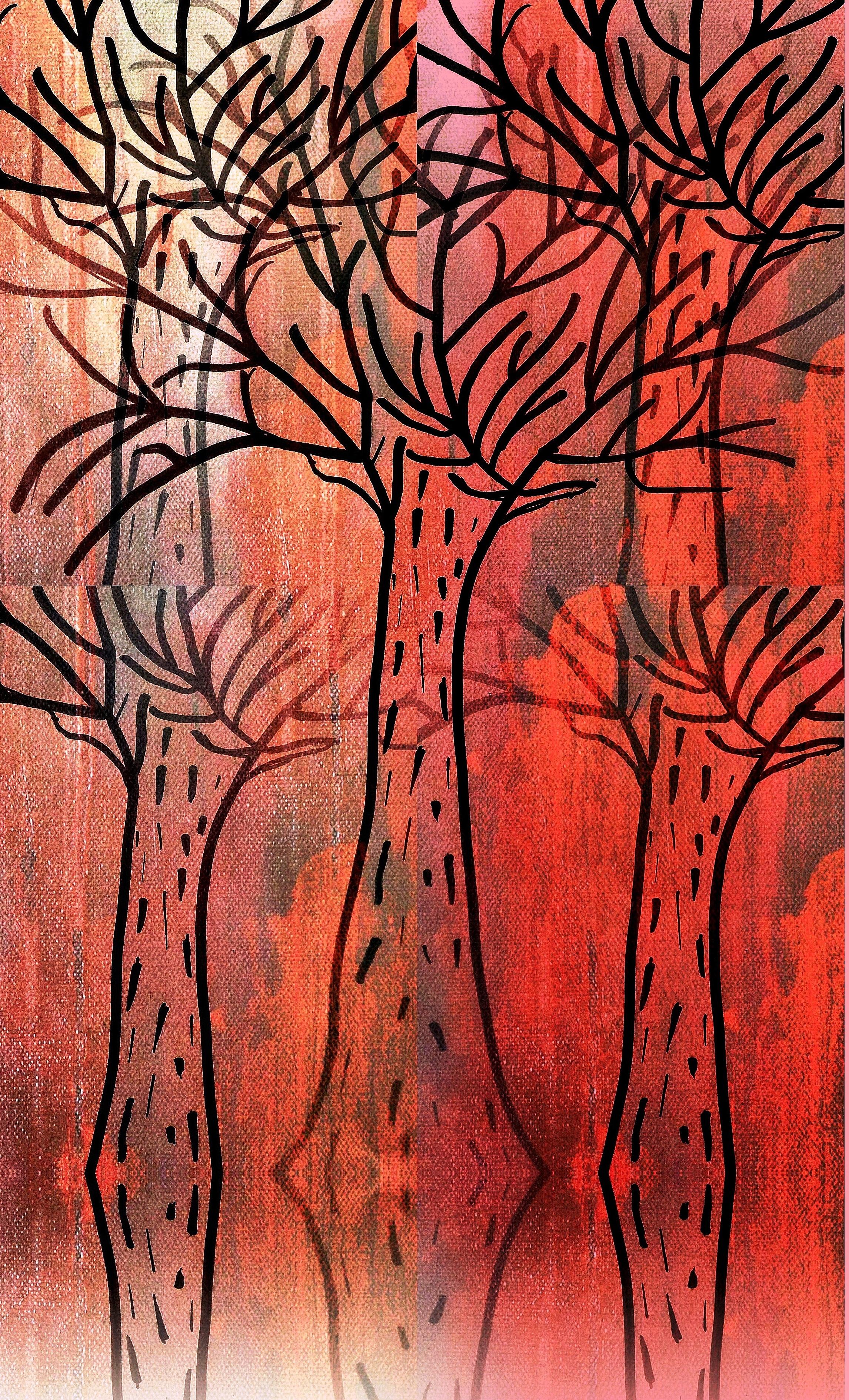 Gambar Hutan Cabang Abstrak Tekstur Pola Garis Merah Tumbuh