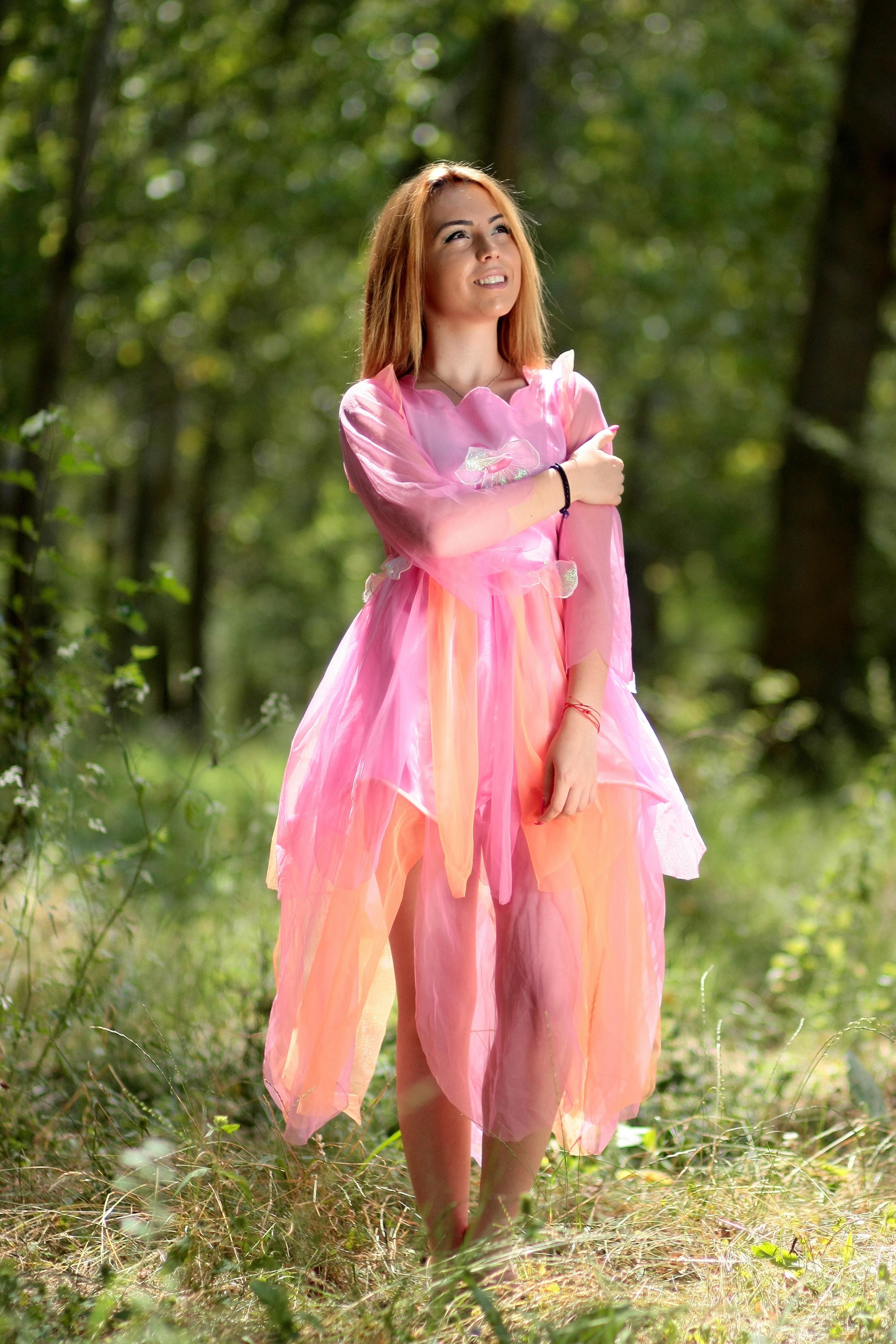 b274d50610de Skov pige fotografering eng blomst forår efterår barn tøj lyserød blond  kjole skønhed kostume fe kjole