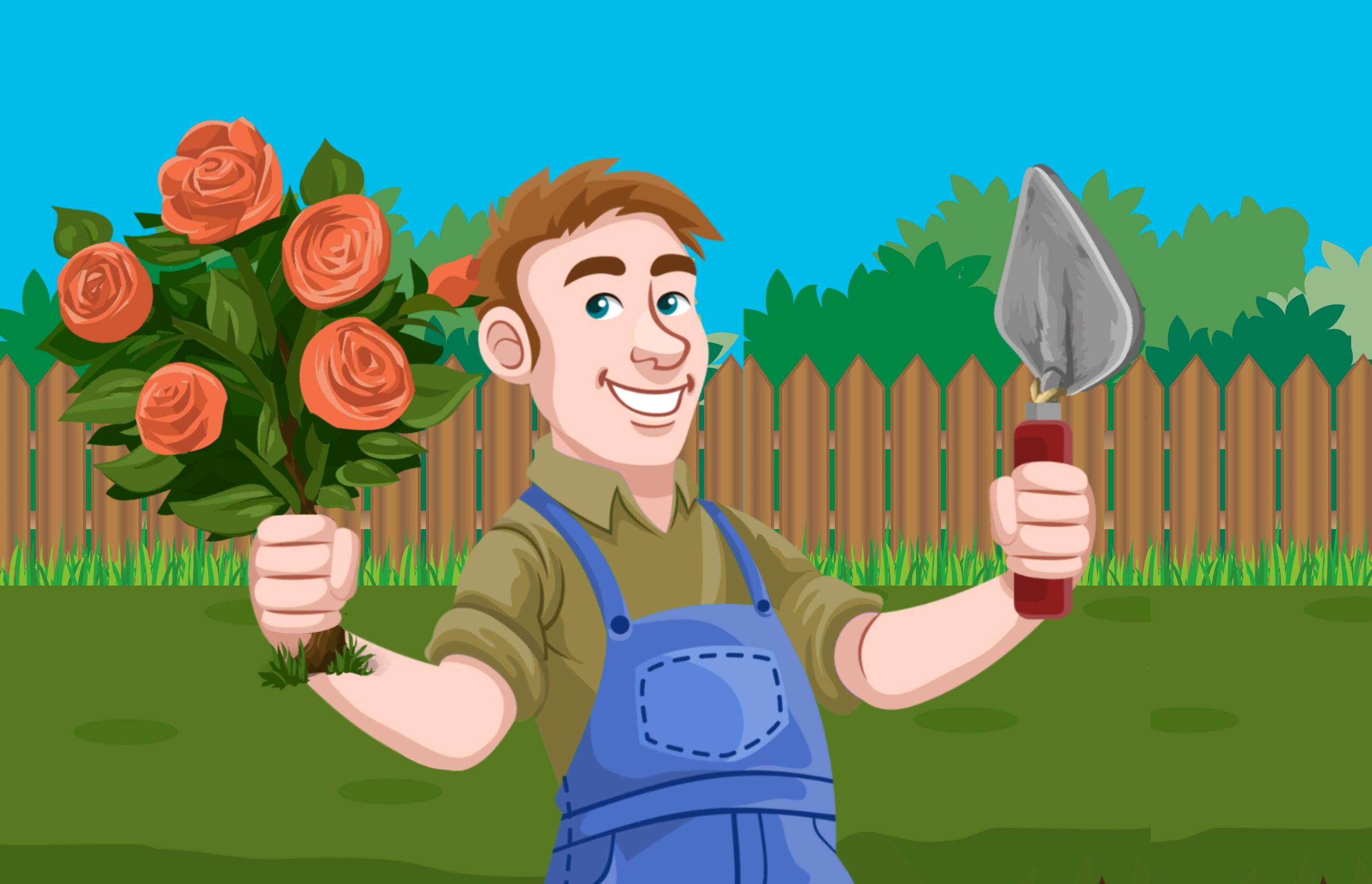 Gambar Tukang Kebun Penanaman Menanam Manusia Pohon Berkebun Pemeliharaan Senang Pekerja Profesional Taman Alam Kerja Hijau Penjual Bunga Alat Pekerjaan Peduli Seragam Halaman Tanah Pertanian Gambar Kartun Ilustrasi Animated