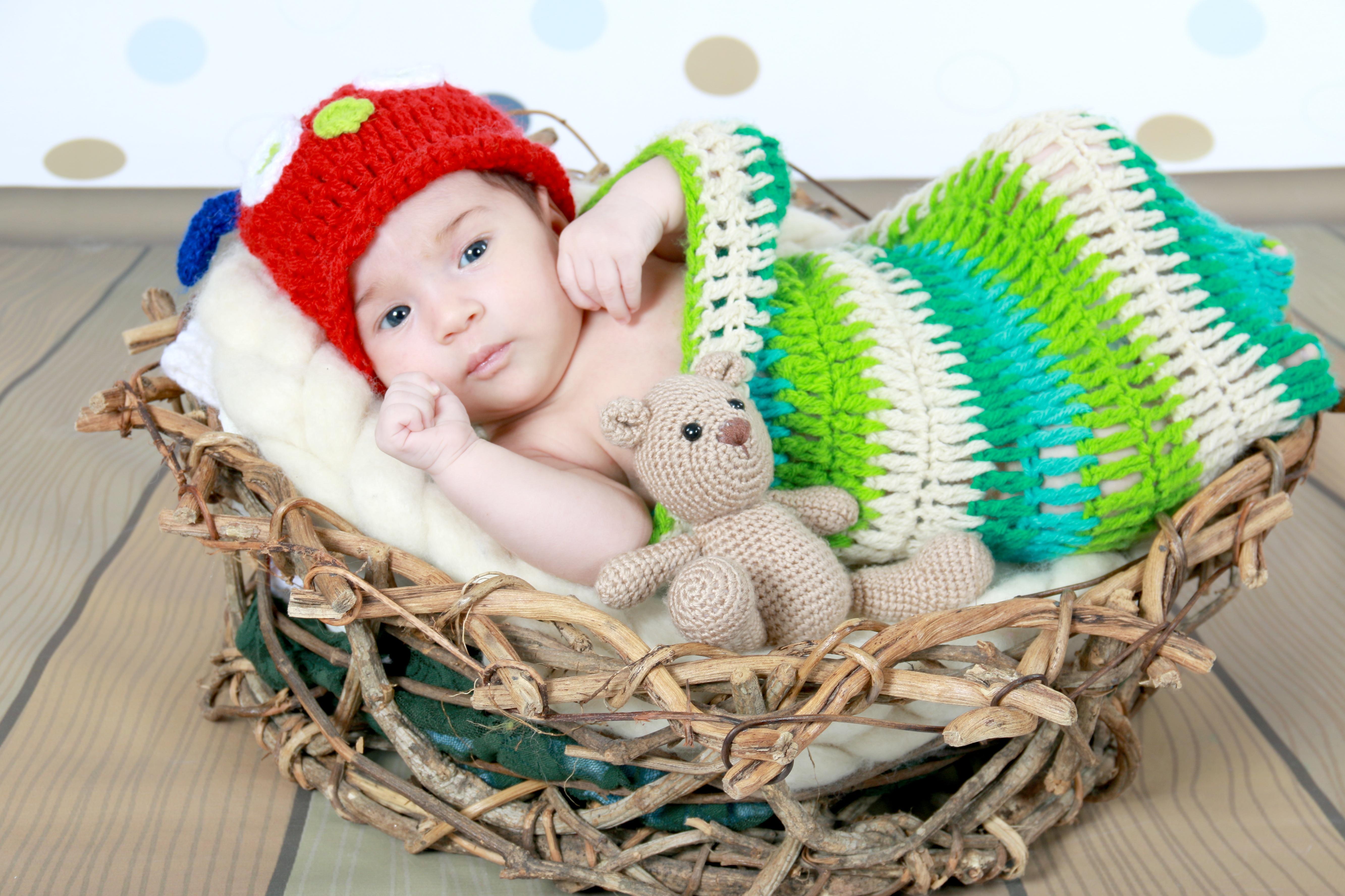 57f726d8f17 girl cute child basket baby headgear wool cradle product crochet infant  toddler princess linda knit cap