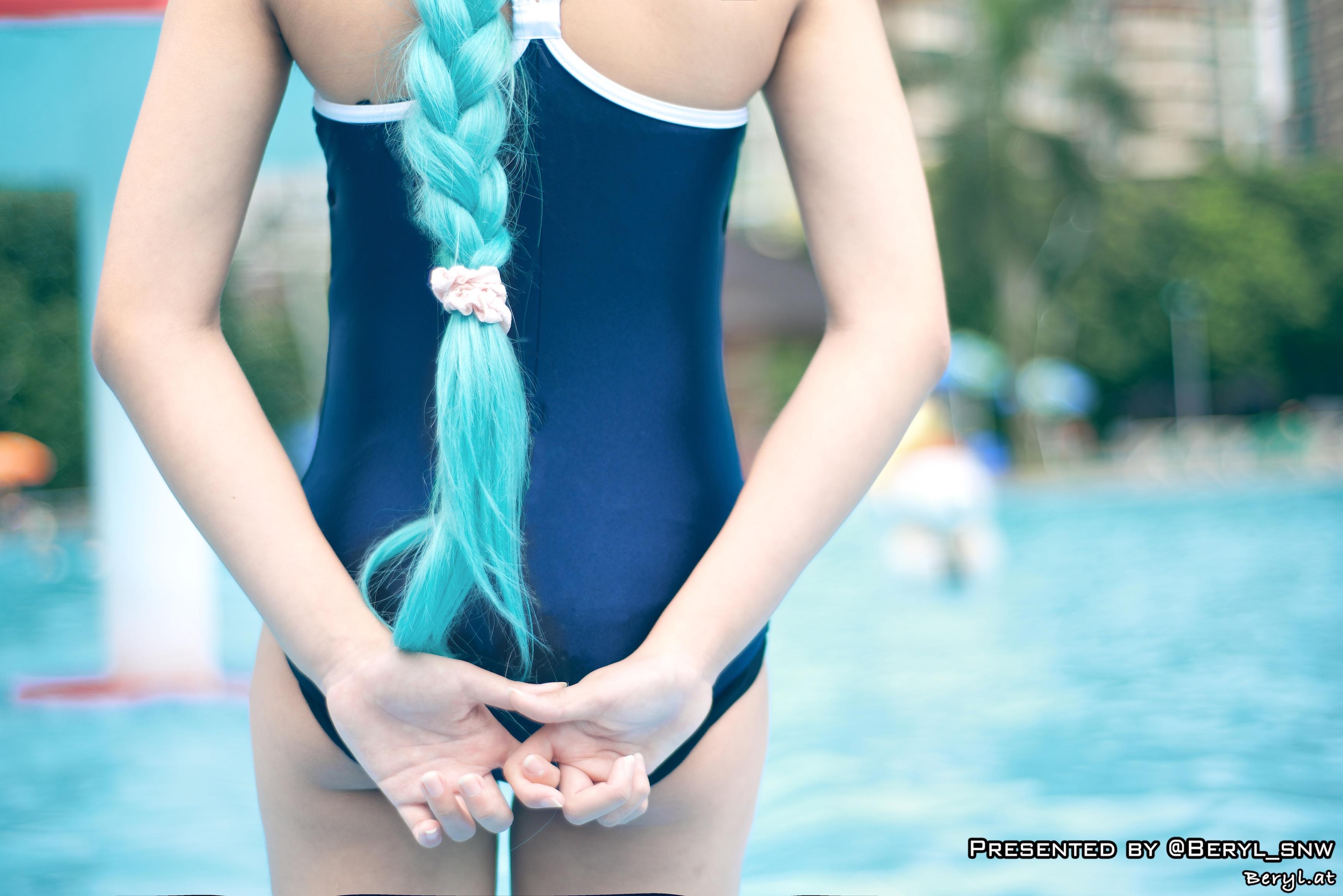 Nude aasialainen tyttö pitkät hiukset-3003