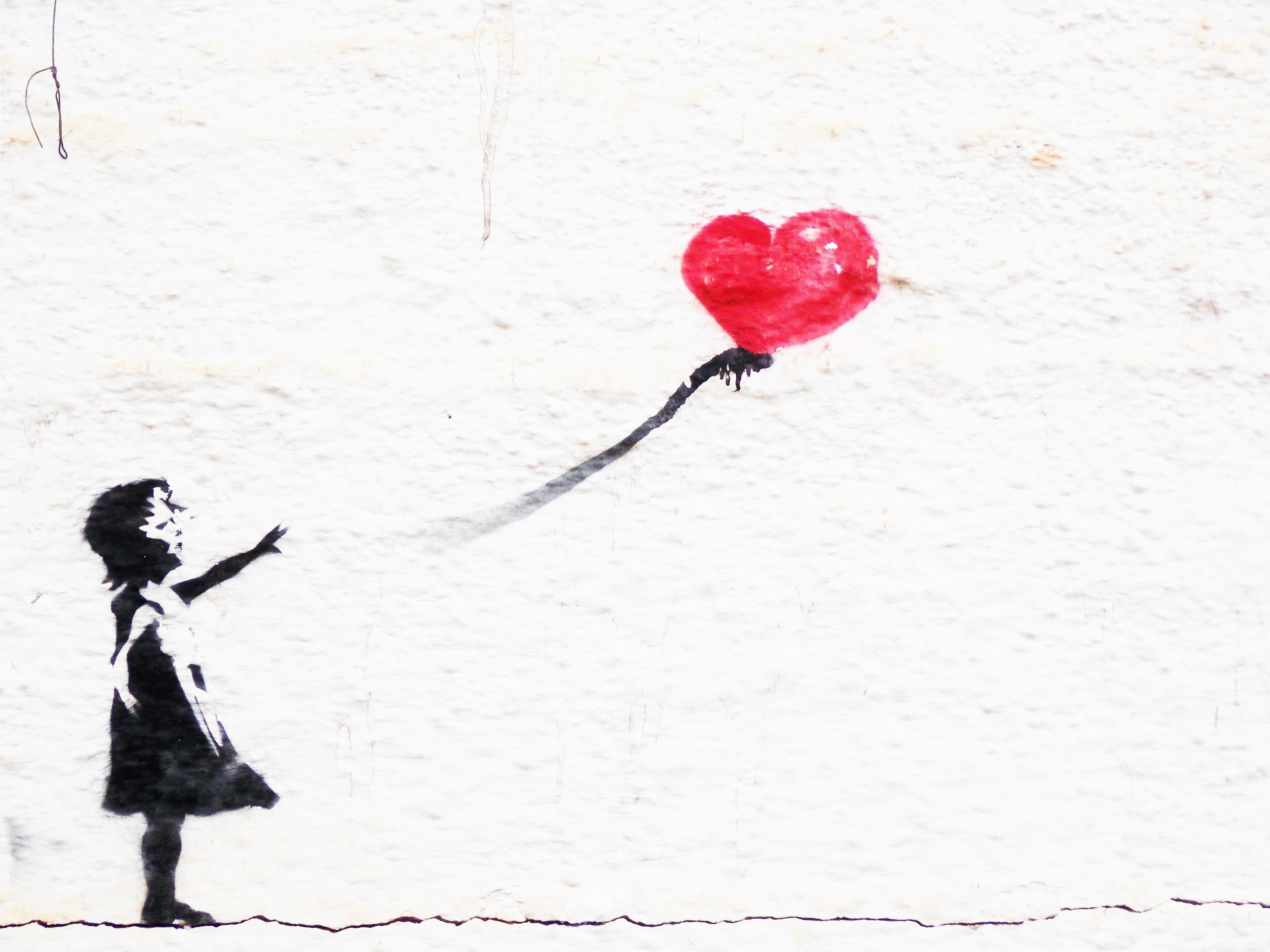 Fotoğraf Kız çiçek Duvar Kalp Sanat Eskiz çizim