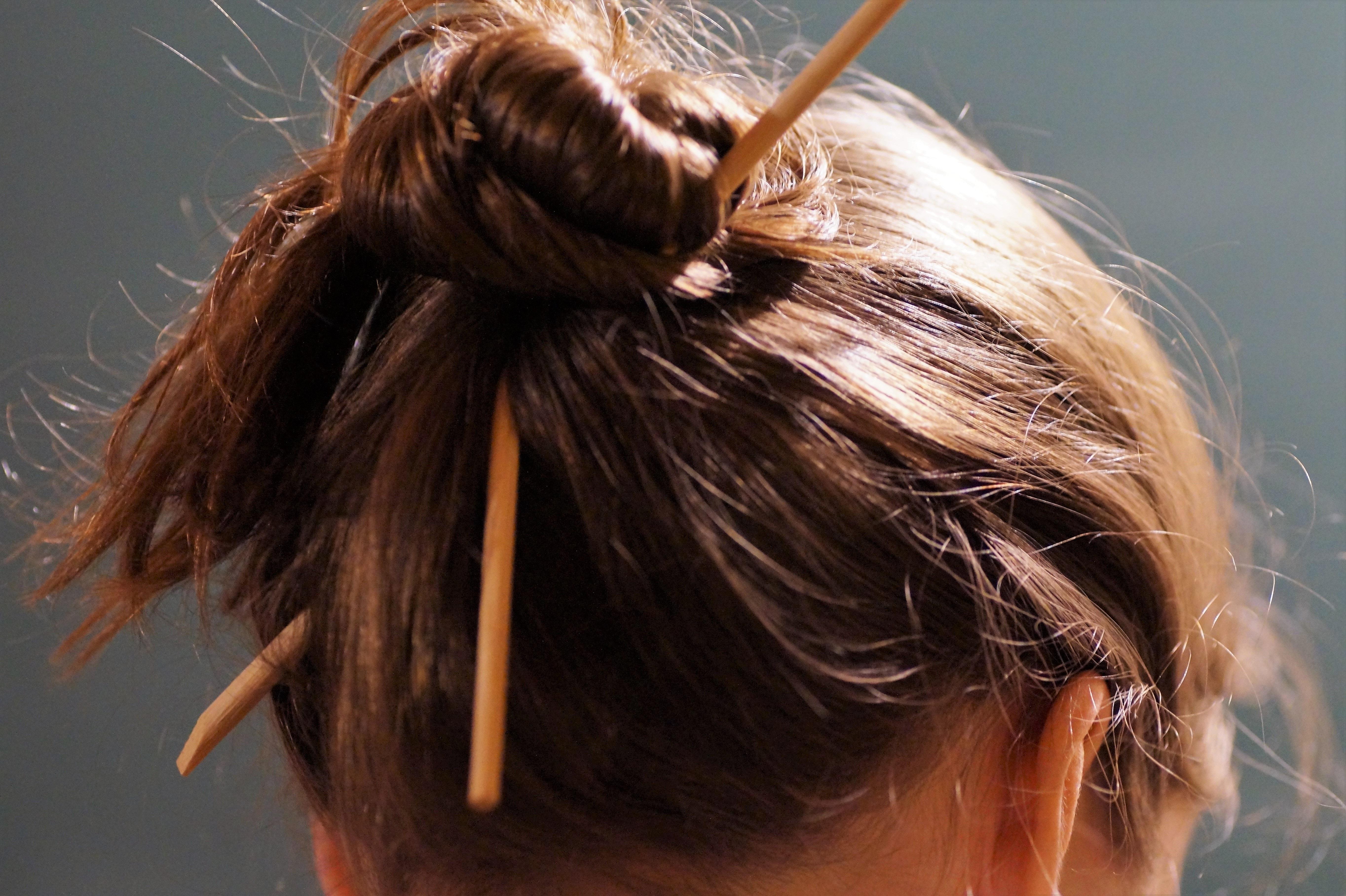 Girl Hair Brunette Young Brown Mane Ear Hairstyle Long Hair Chopstick Bun  Head Closed Node Brown