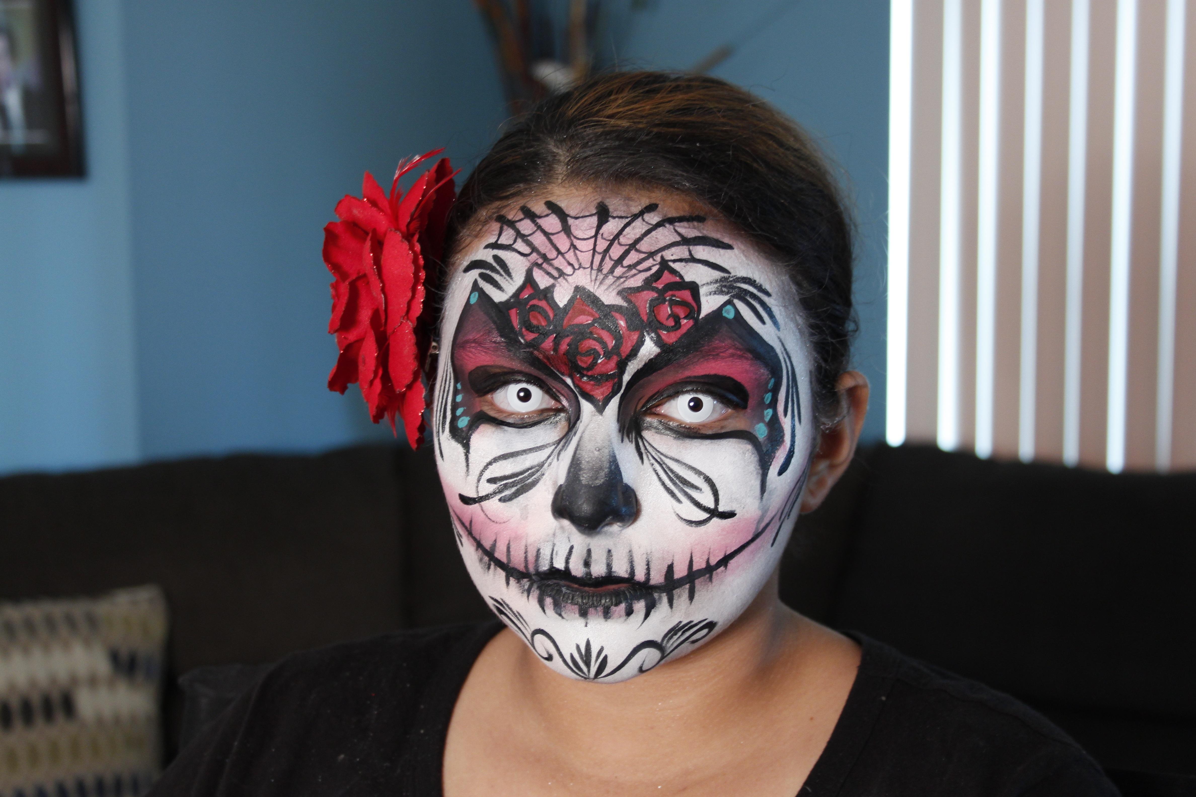 Skummel Halloween Sminke.Bildet Pike Skummelt Halloween Klaer Hodeplagg Sminke