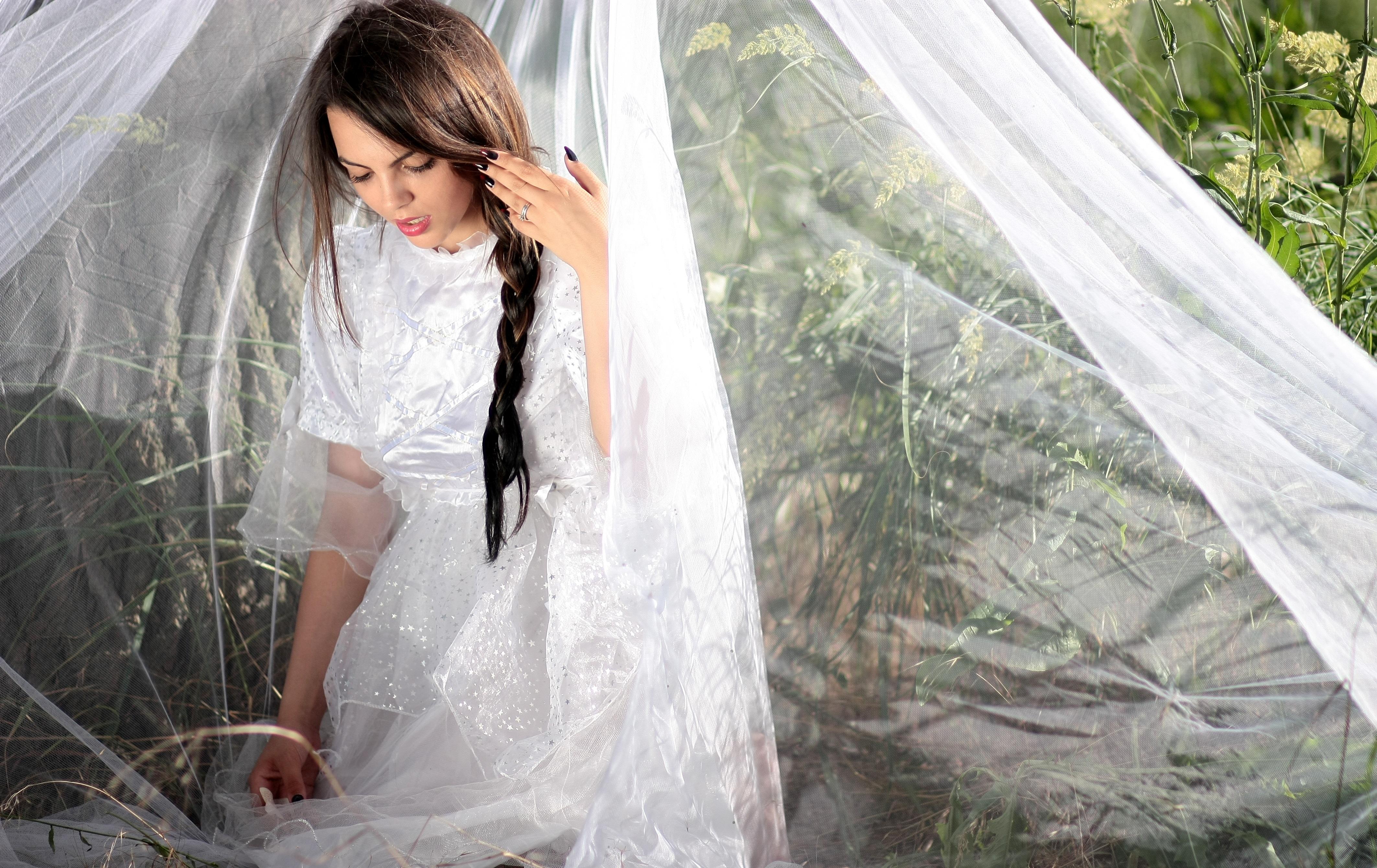 Free Images : girl, white, wedding dress, bride, long hair, ceremony ...