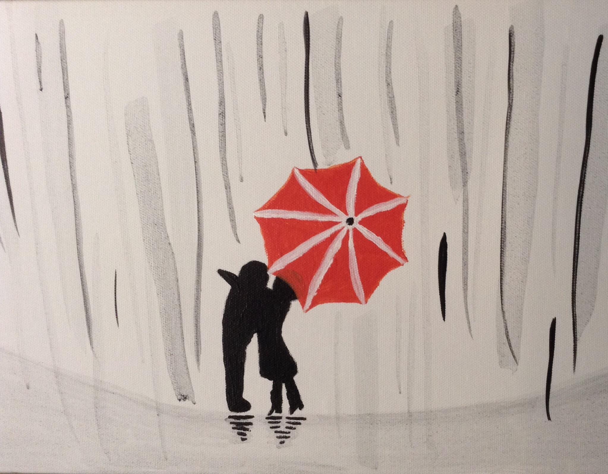 Fotoğraf Kız Beyaz Yağmur Oğlan Portakal Kırmızı şemsiye