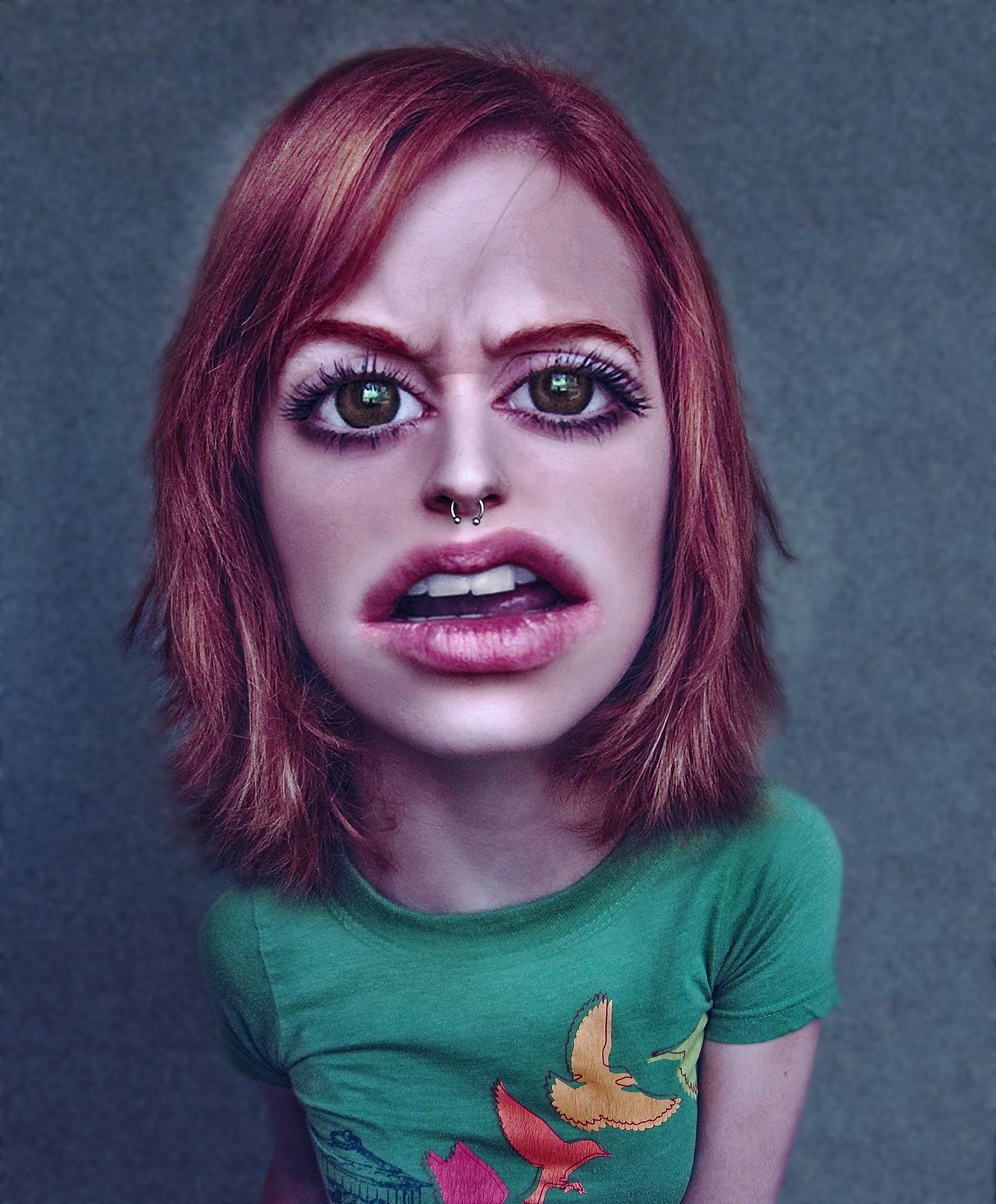 Gambar Gadis Wanita Model Warna Biru Berwarna Merah Muda