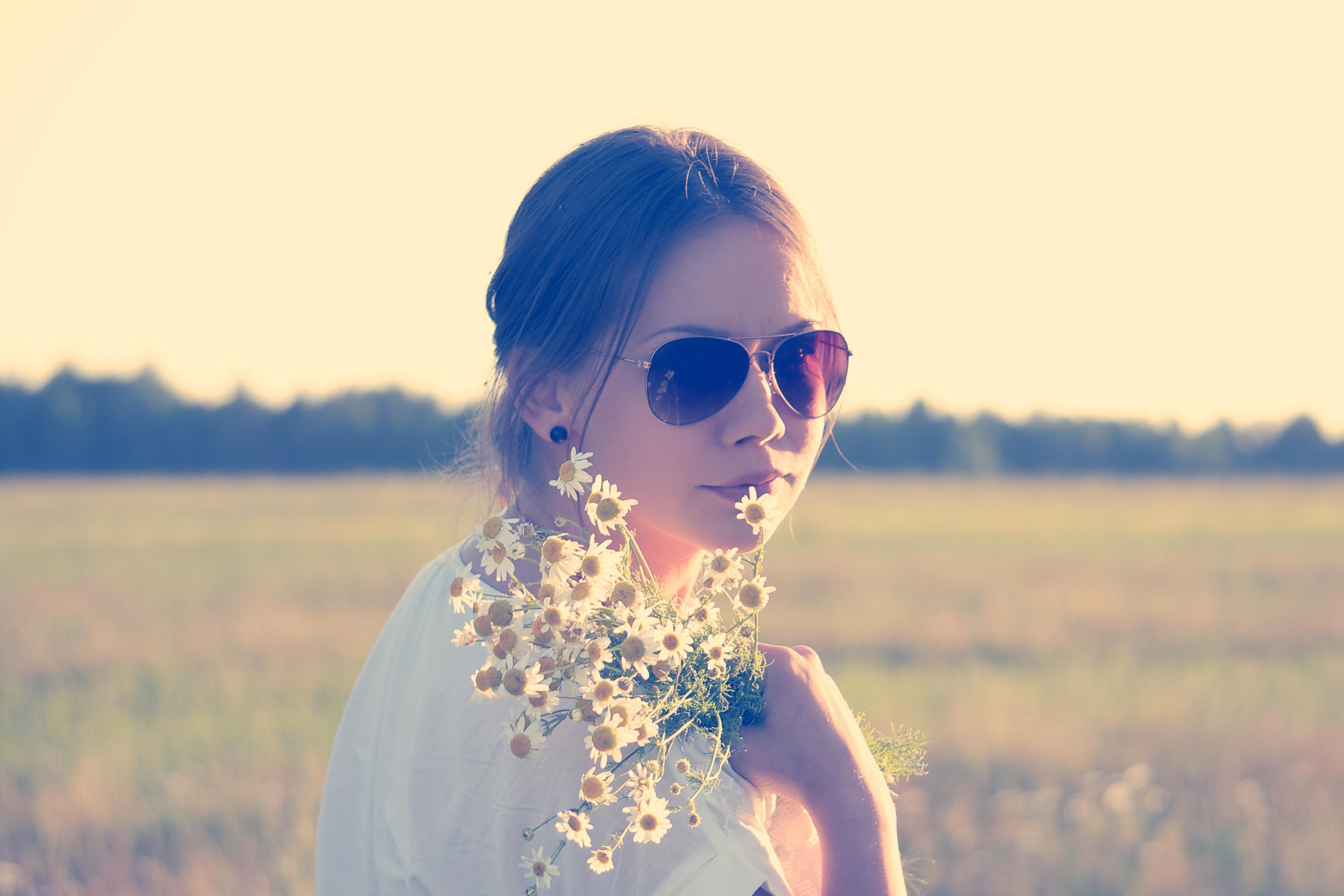 Free Images Girl Woman Hair Sunlight Flower Summer Daisy Love Model Spring Color Blue Lady Season Smile Flowers Focus Dress Sunglasses Eye Glasses Photograph Skin Eyewear Beauty Beautiful Attractive Emotion Blouse