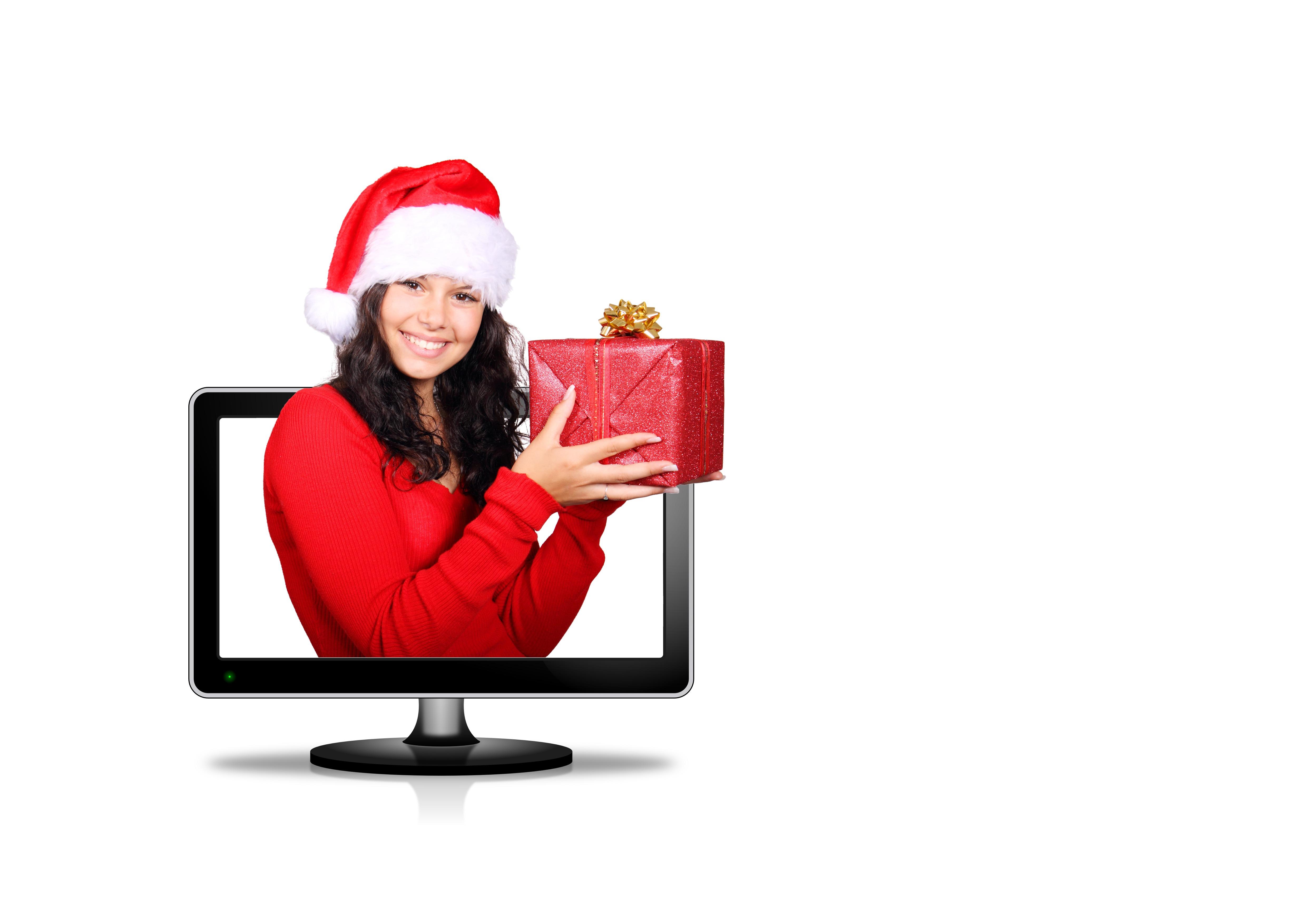 ragazza donna bianca isolato femmina regalo giovane rosso cappello scatola  Natale Sorriso Santa tenere sotto controllo b53bf72f30bb