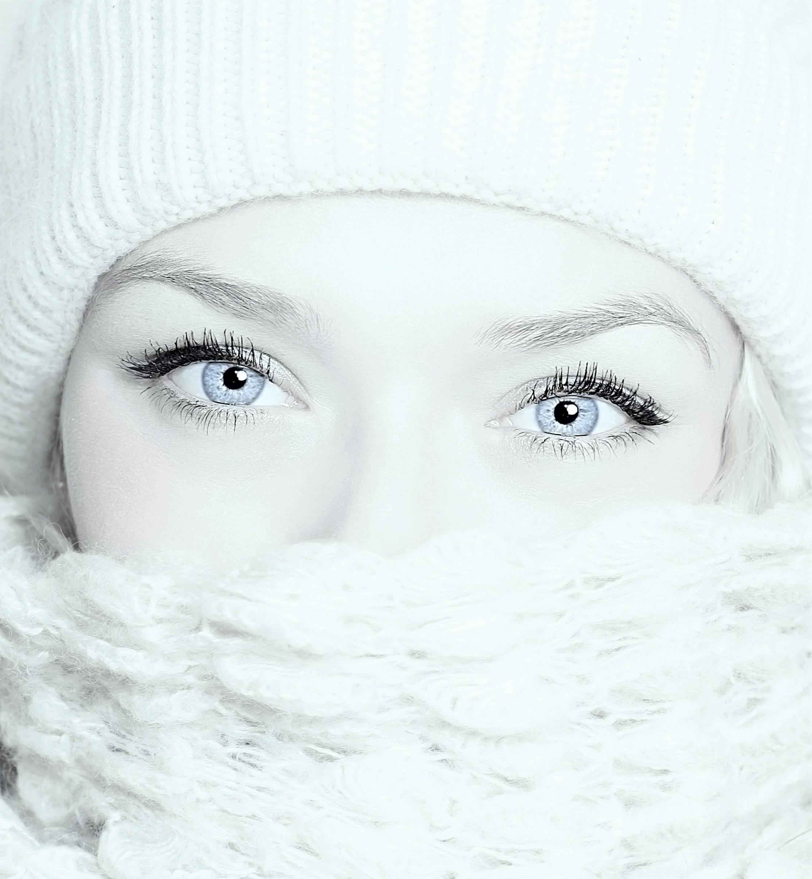Images Gratuites Fille Femme Blanc Bleu Echarpe Cil Fermer
