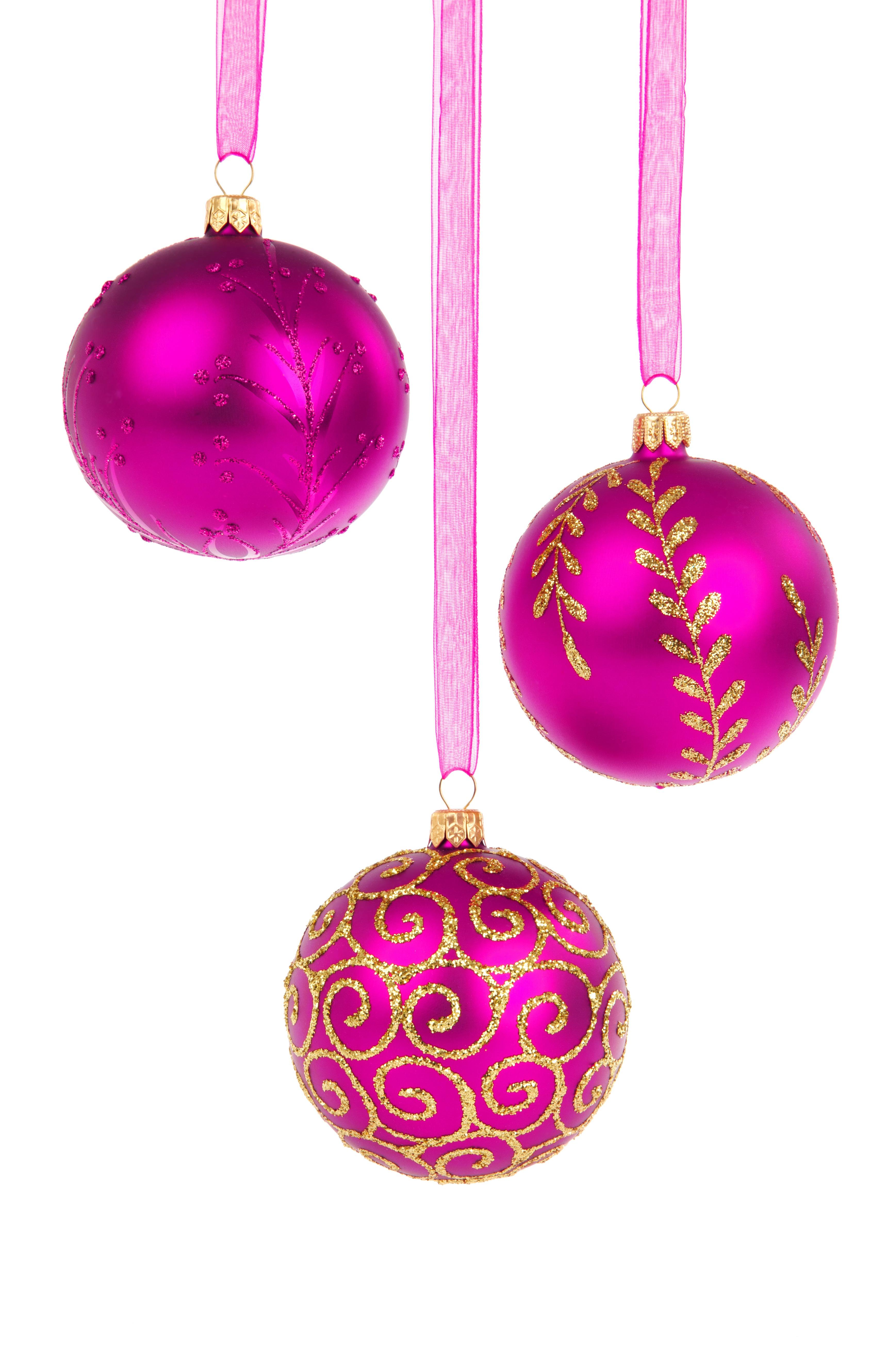 Holiday Hanging Object Pink Decor Circle Bauble Ornament Christmas Decoration Jewellery Three Decorative Earrings Seasonal Ball Magenta