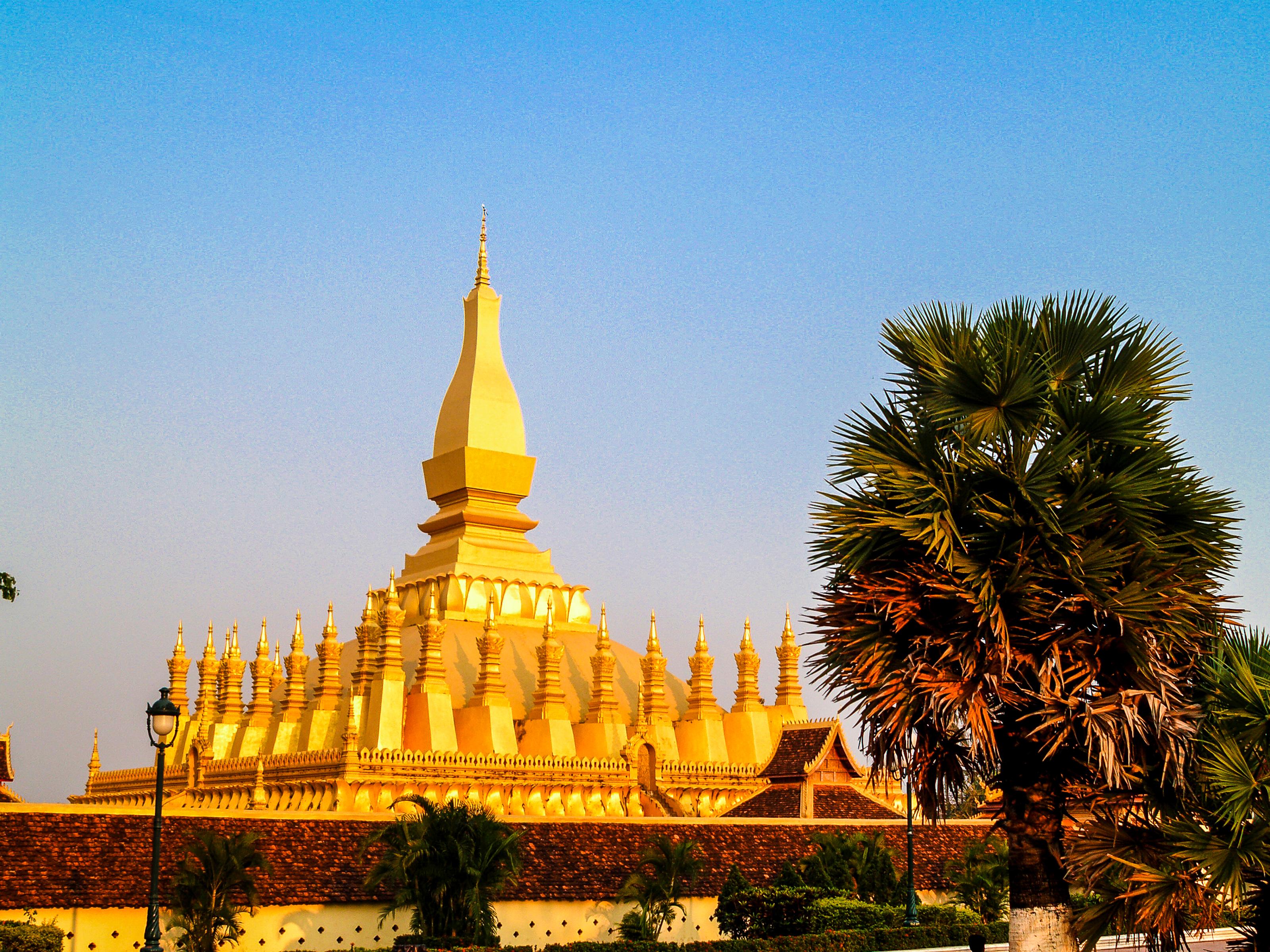 Free Images Golden Luang Tourism Vientiane Travel Buddhism
