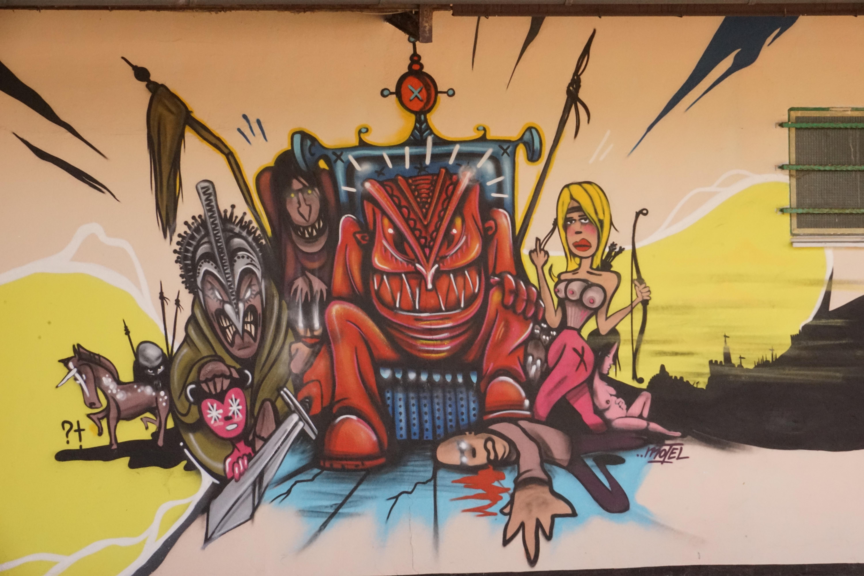 Graffiti wall painting - Graffiti Painting Art Sketch Drawing Illustration Mural Comics Cartoon Wall Painting Modern Art Sprayer Hauswand