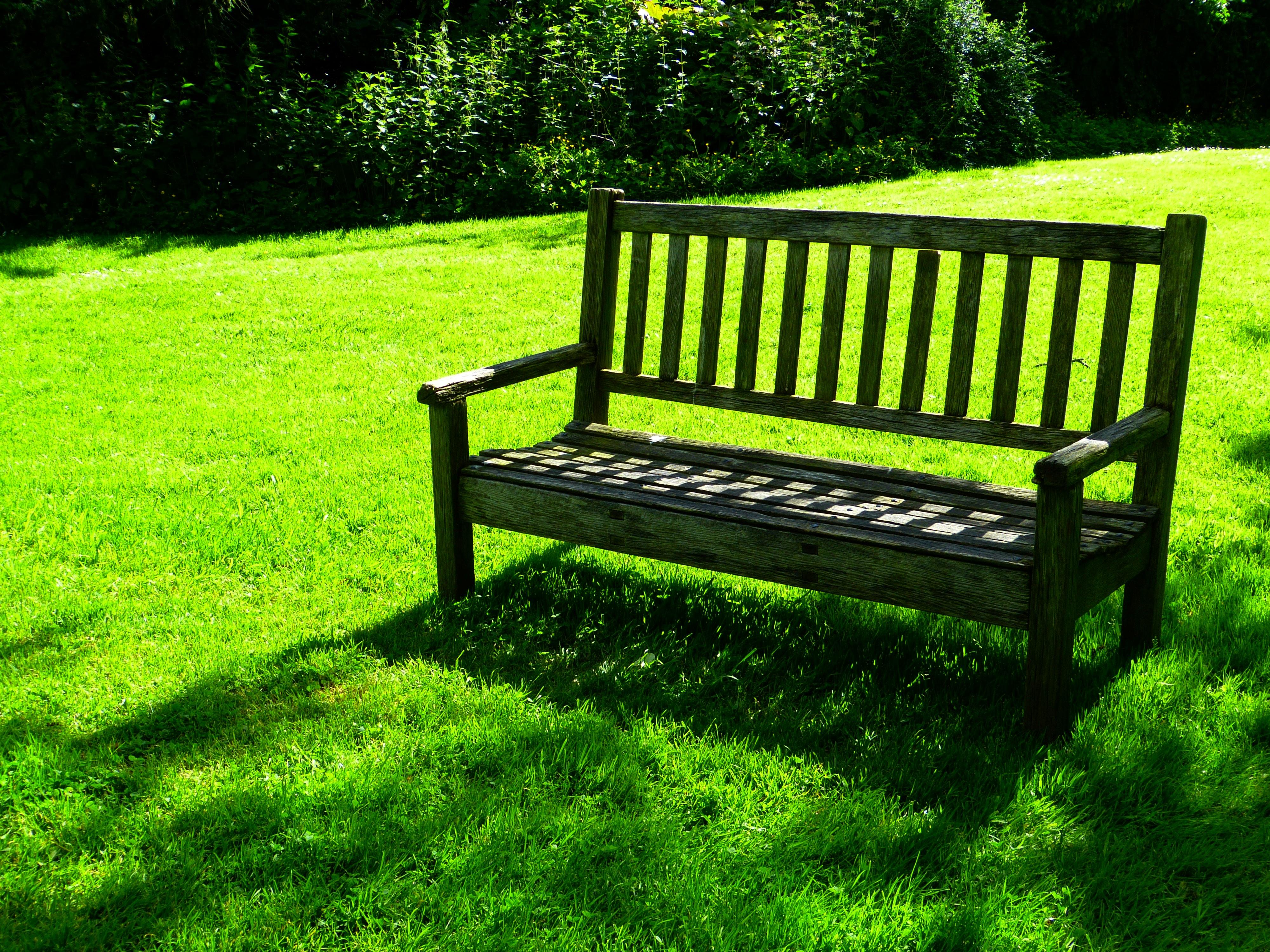 Fotos gratis : césped, banco, asiento, idílico, verde, relajarse ...