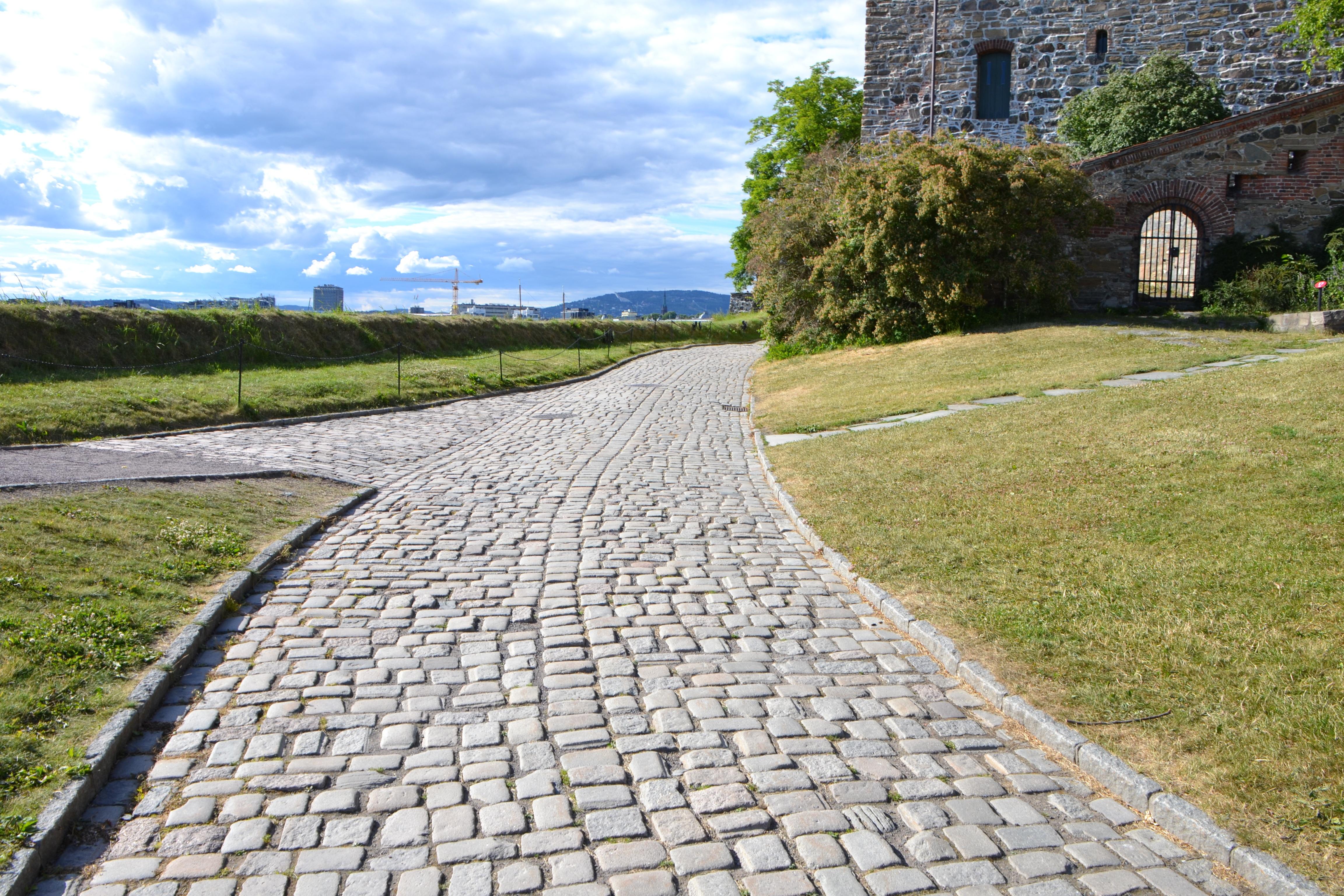 Free grass lawn sidewalk cobblestone wall asphalt