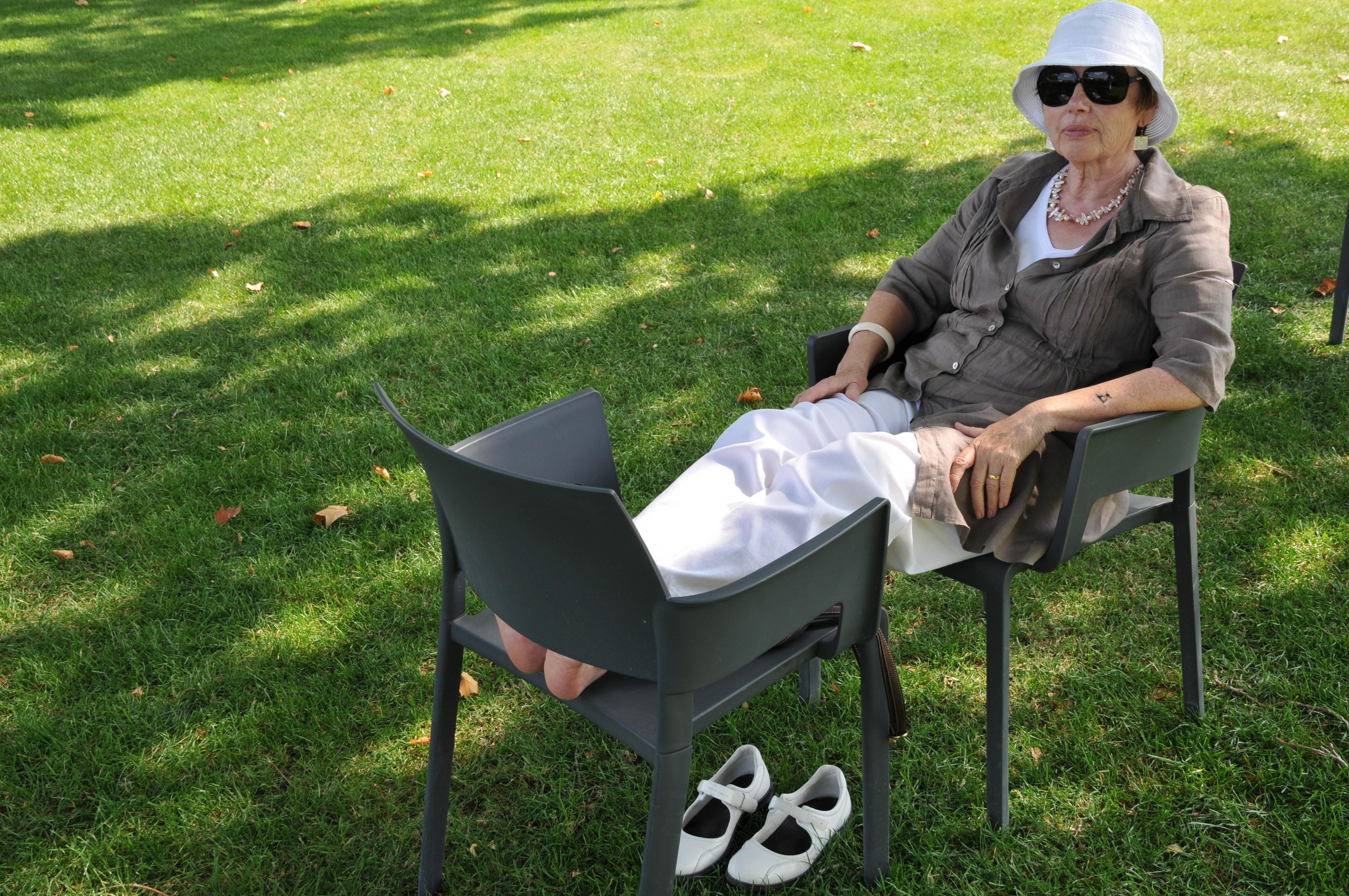 Free grass woman lawn chair summer sitting backyard
