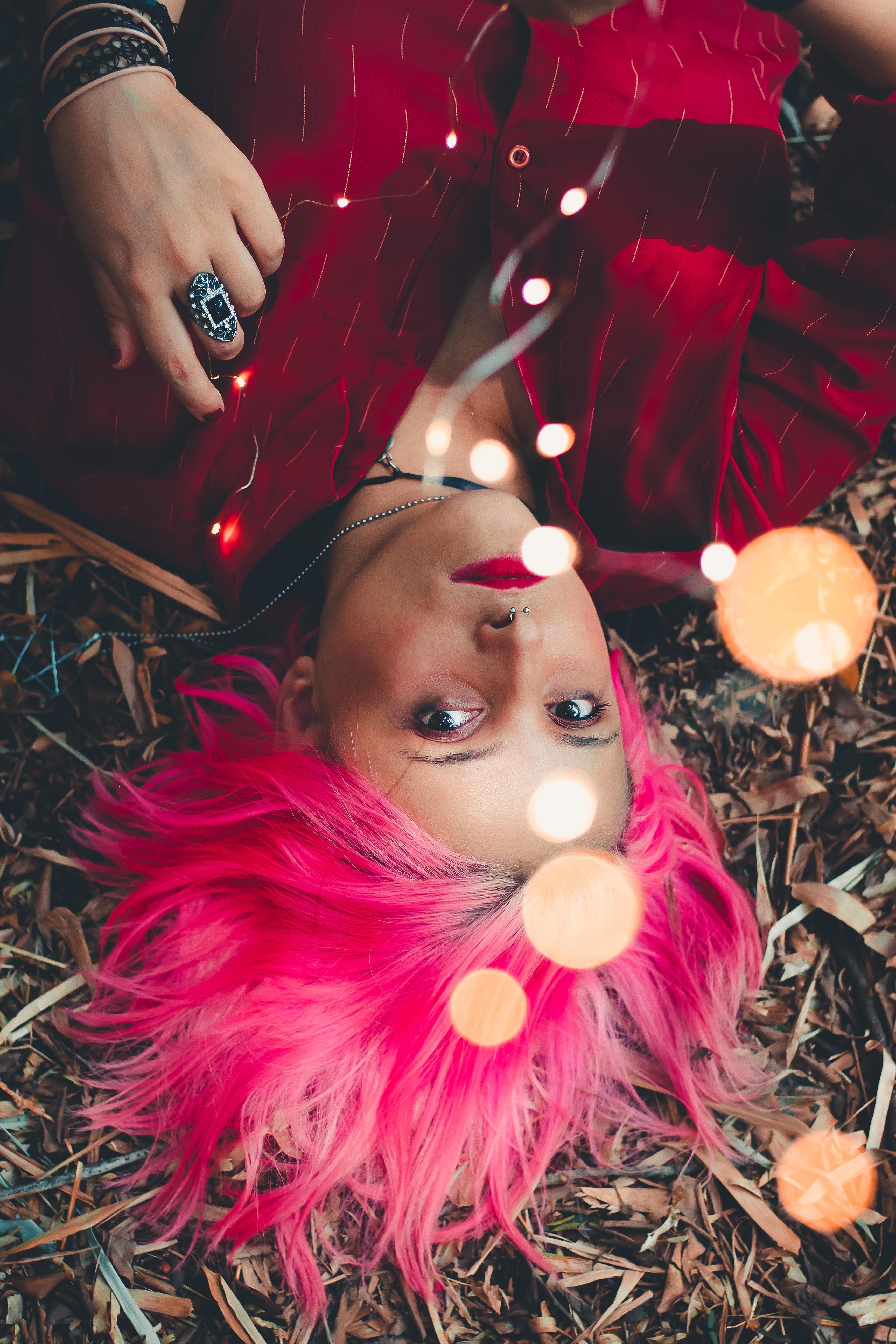 Kostenlose Foto Haar Rosa Rot Magenta Haare Färben