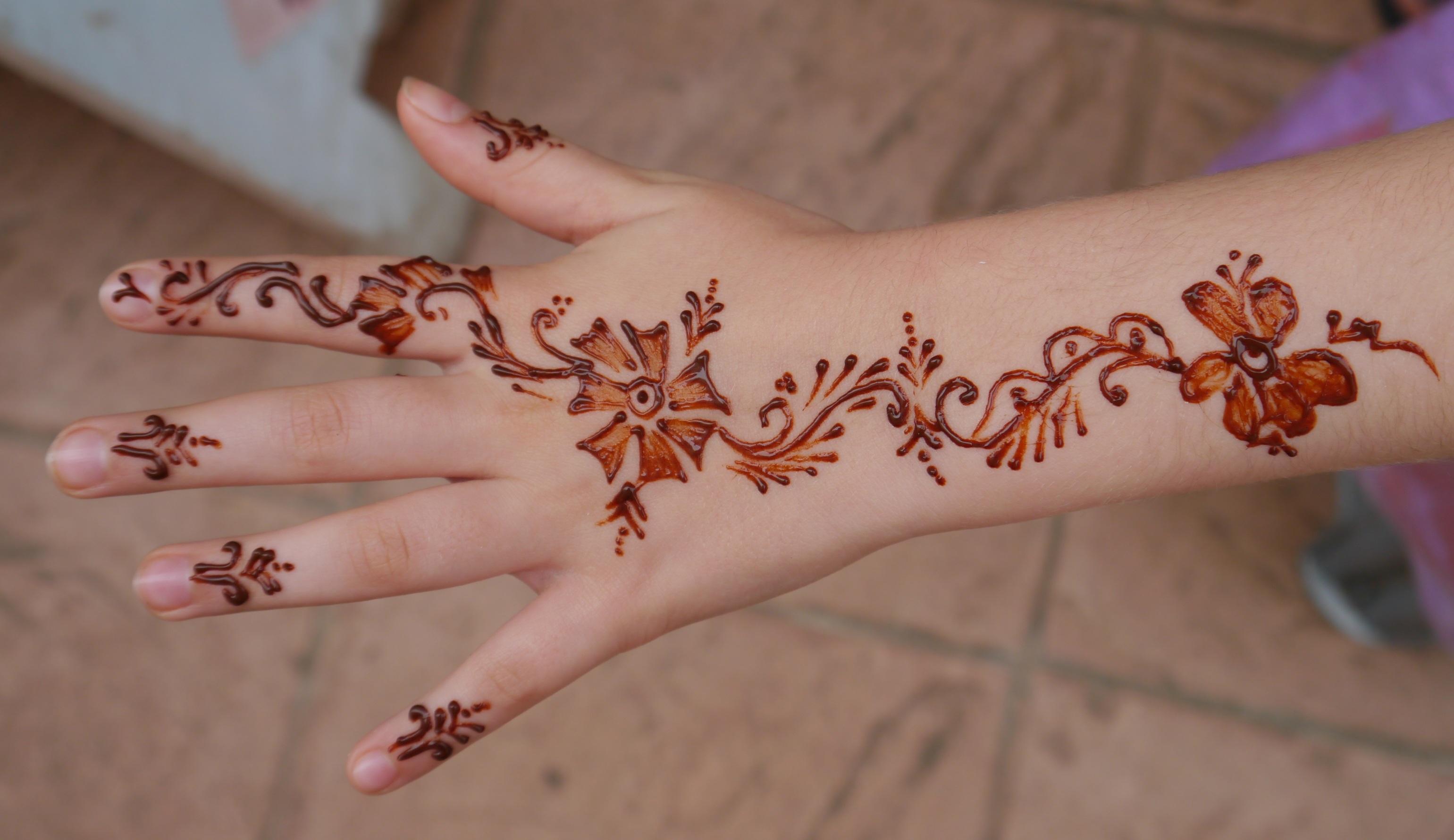 Gambar Tangan Gadis Pola Jari Inai Lengan Lukisan Seni