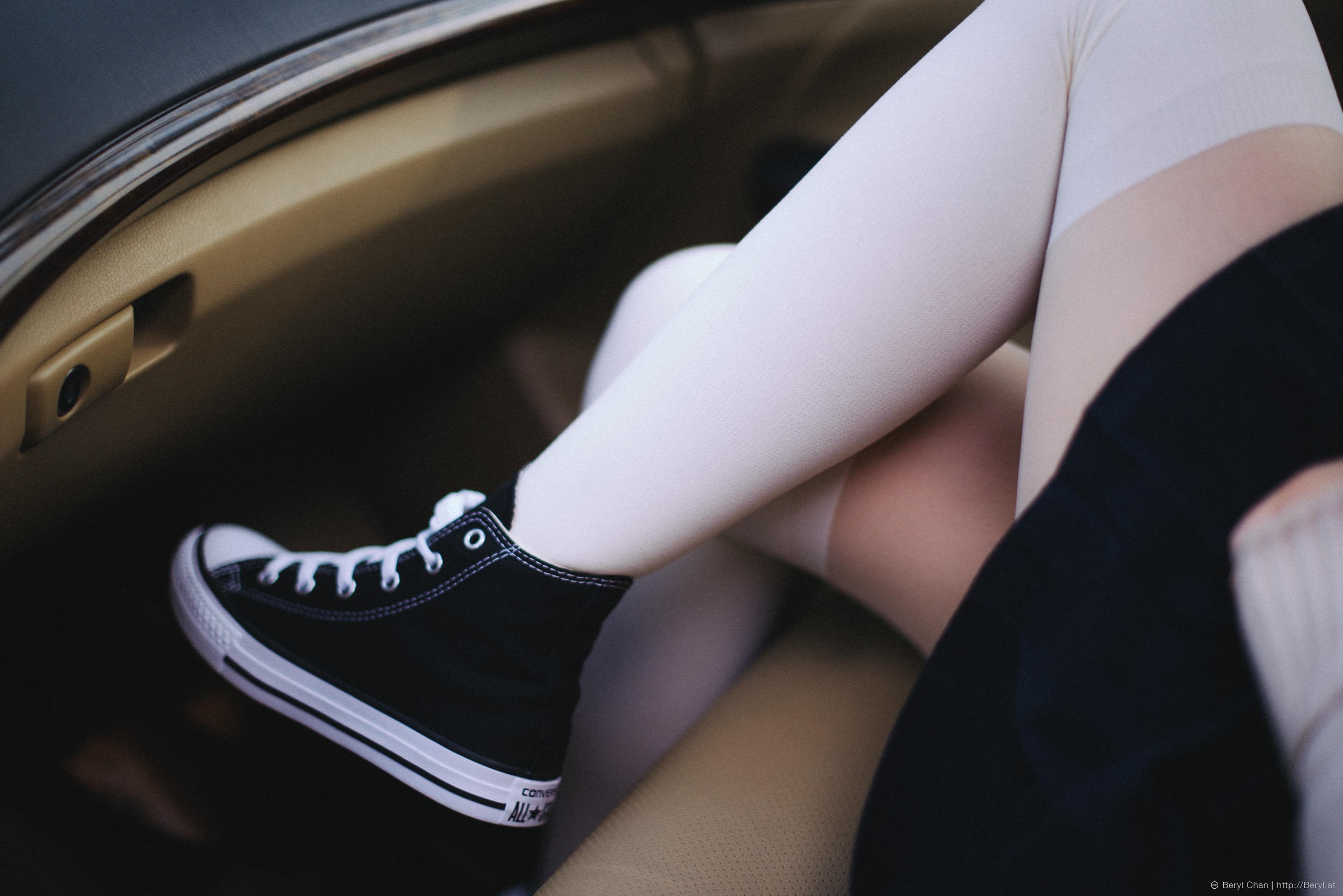 Hands between legs pantyhose