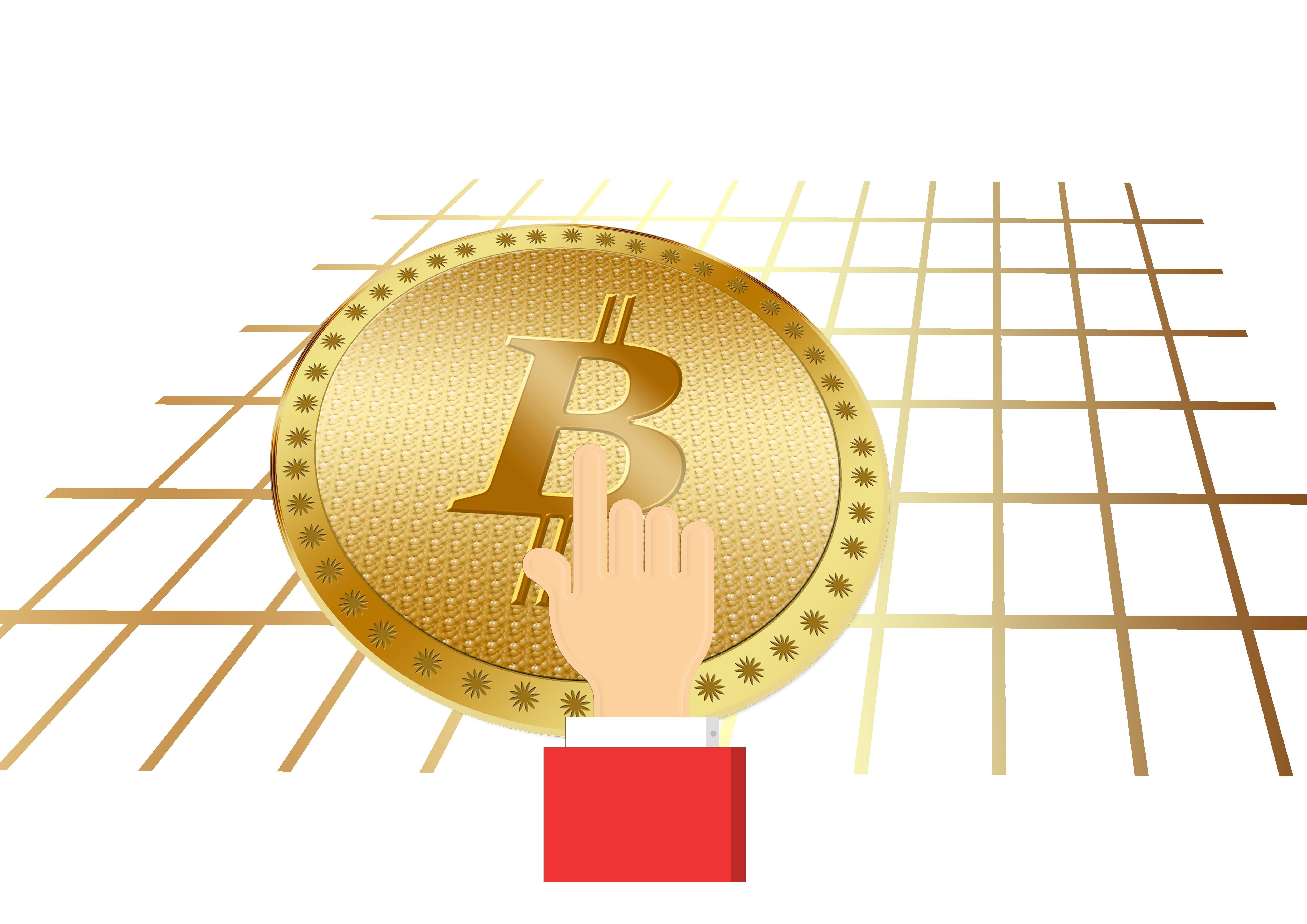 Bitcoin bianco simbolo sul cerchio colorato sfondo, acquerello disegnato a mano.