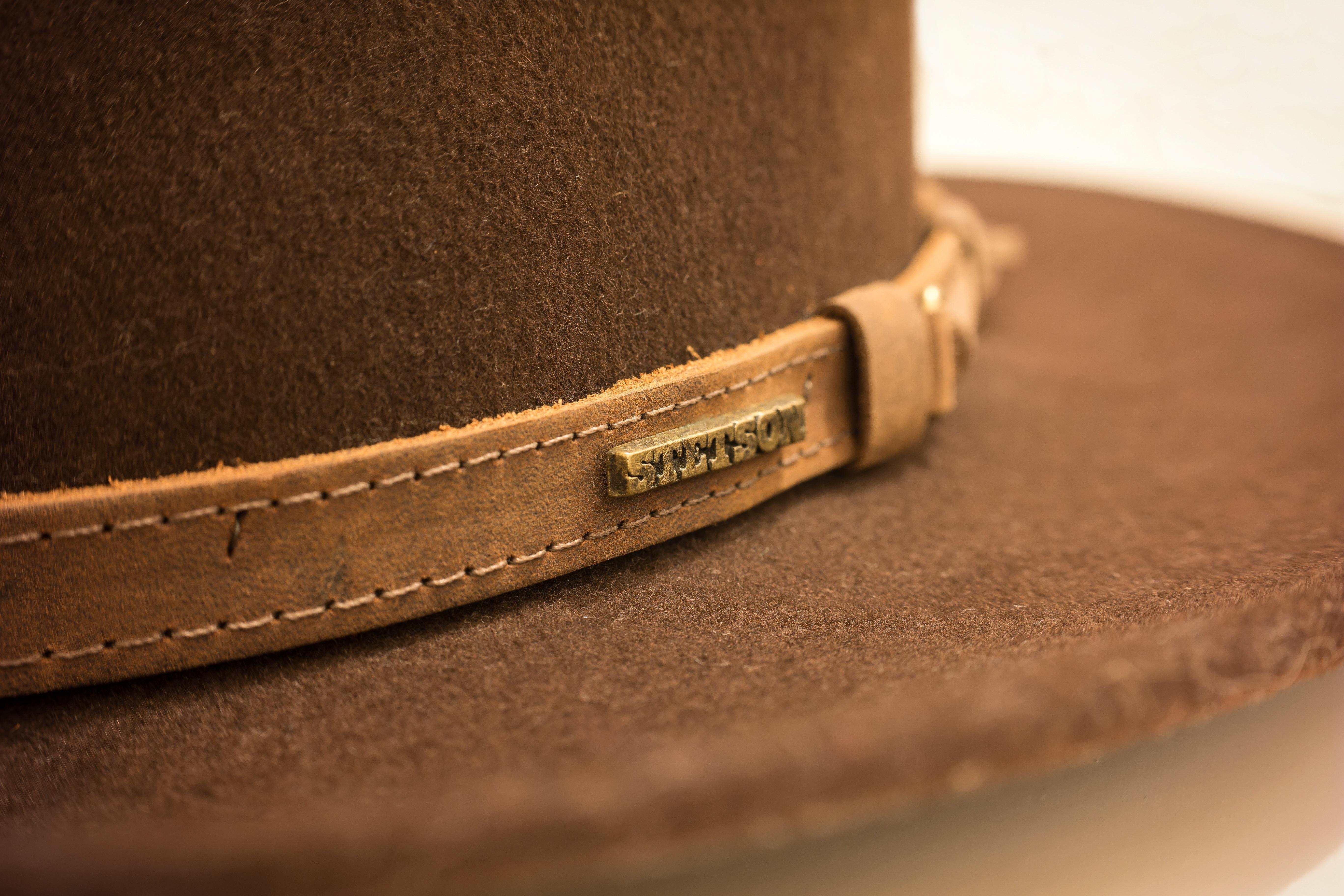 655880c67cc11 mano cuero marrón sombrero marca cinturón textil vaquero occidental  Sombrerería Correa Fedora Stetson sintió hebilla sombrero