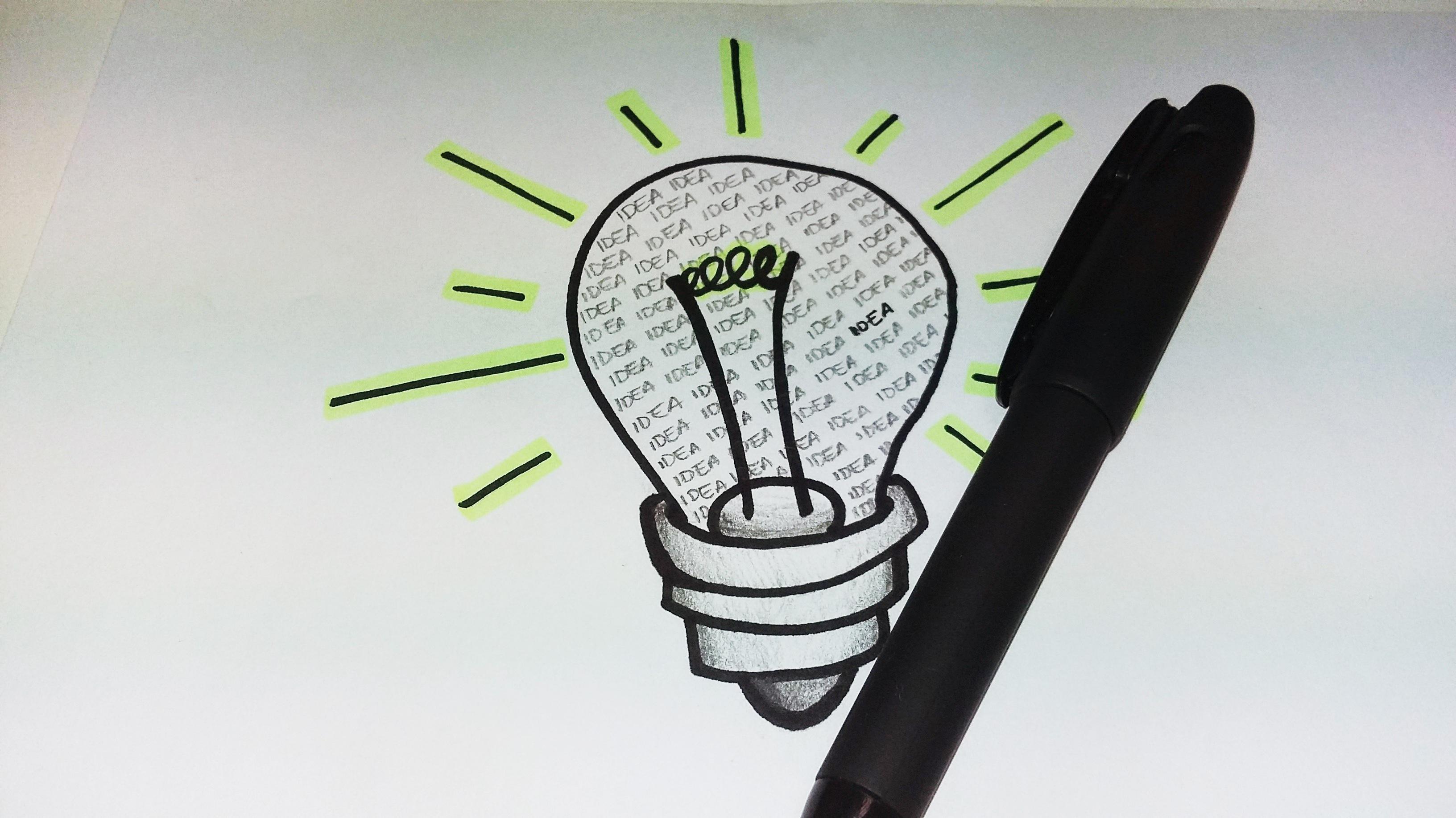 Gambar Tangan Pena Bolam Mainan Merek Ilustrasi Ide Gambar