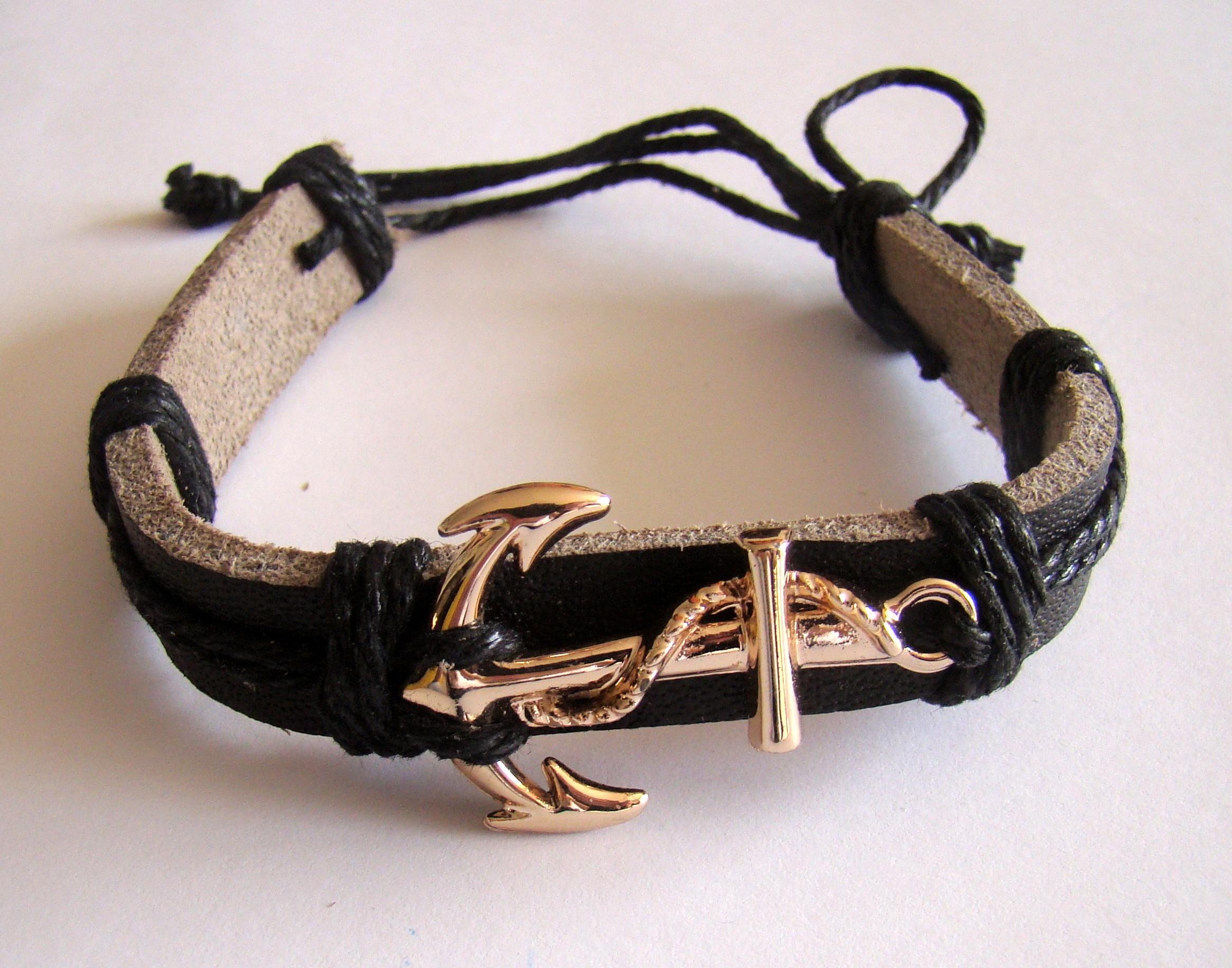 ae8c785acec9 mano mar cuero cadena collar pulsera joyería ancla Makammos Accesorio de  moda