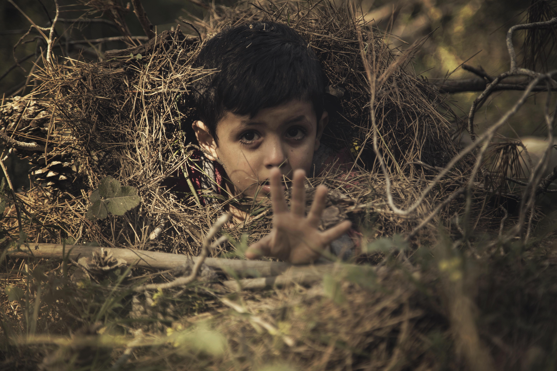 Scared Children Hiding