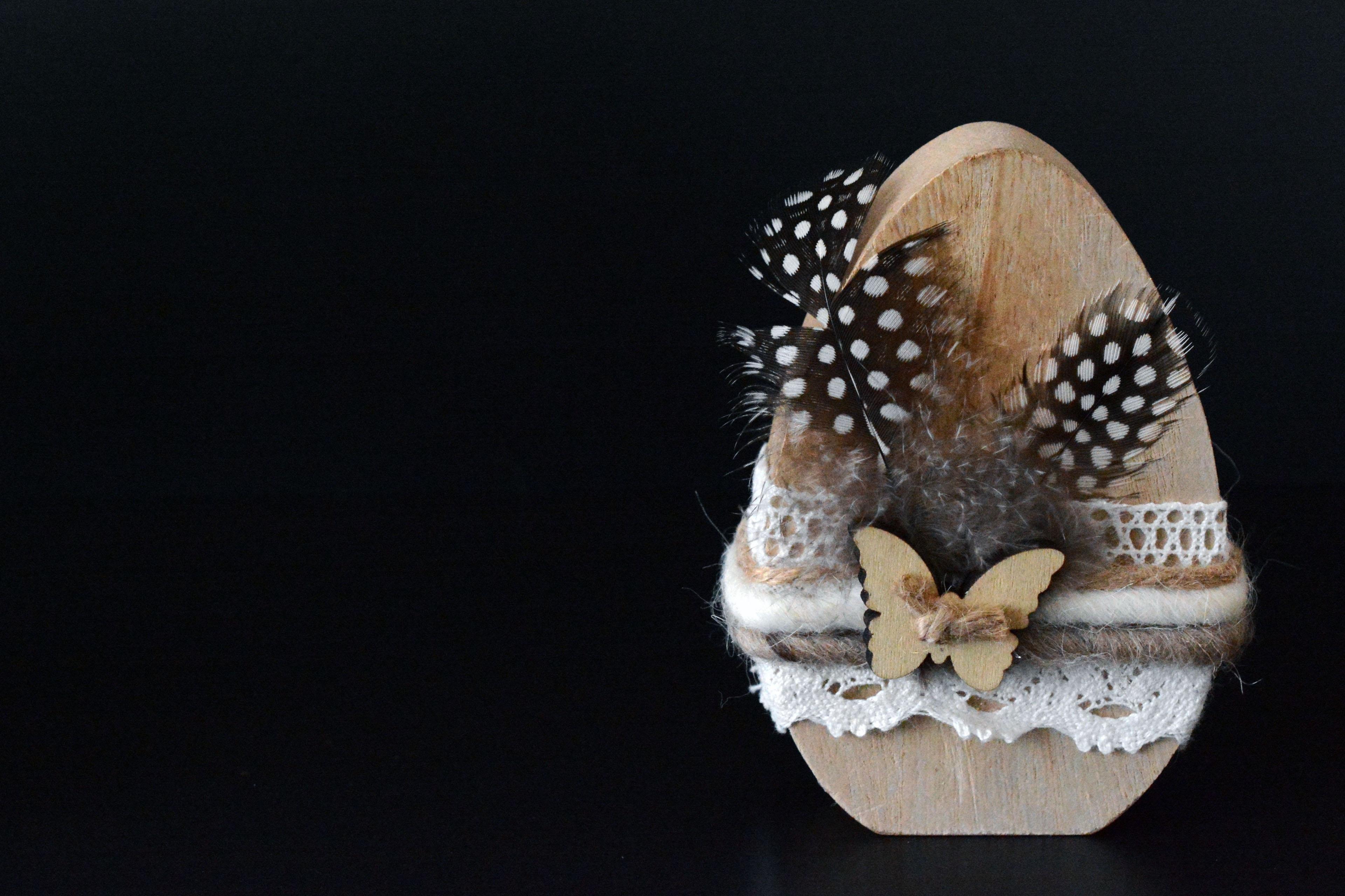 Holz Dekoration kostenlose foto holz dekoration schmetterling feder ei