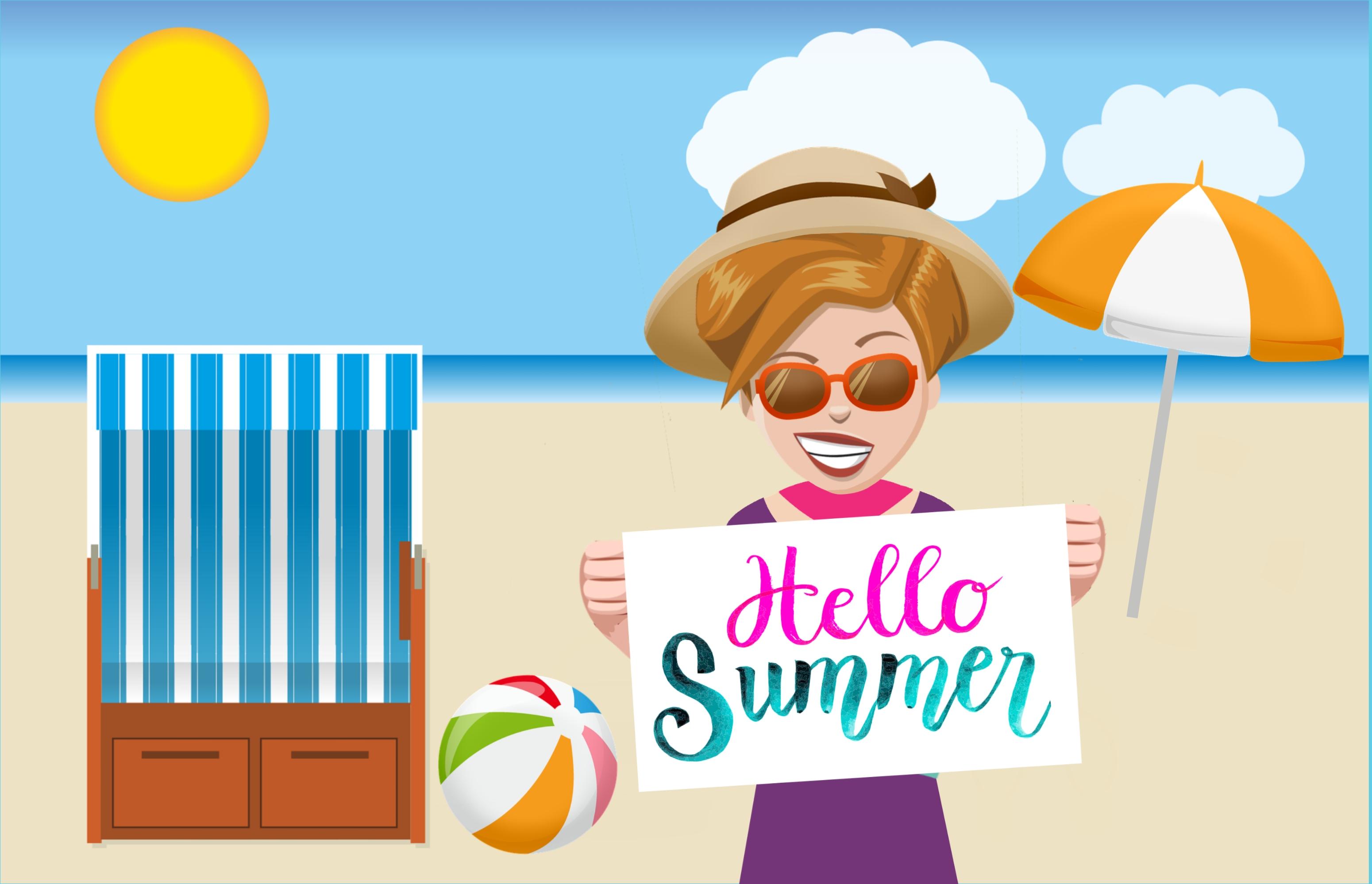 Gambar Hello Summer Wanita Laut Topi Perjalanan