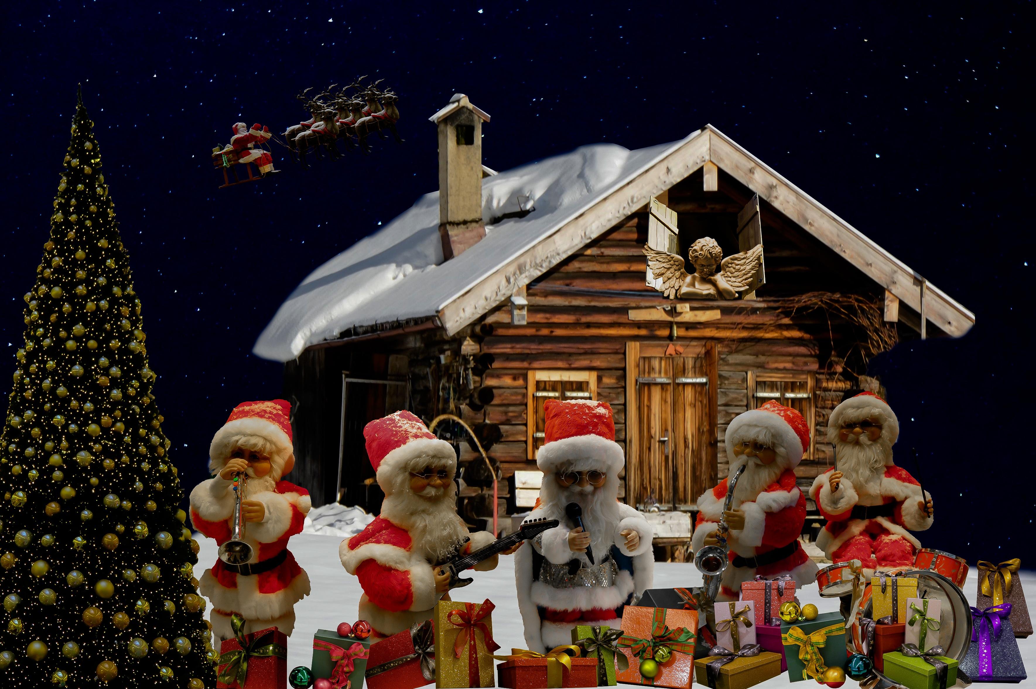 fotos gratis fiesta rbol de navidad decoracin navidea regalos tiempo de navidad gracioso pap noel nicholas tarjeta de navidad feliz navidad
