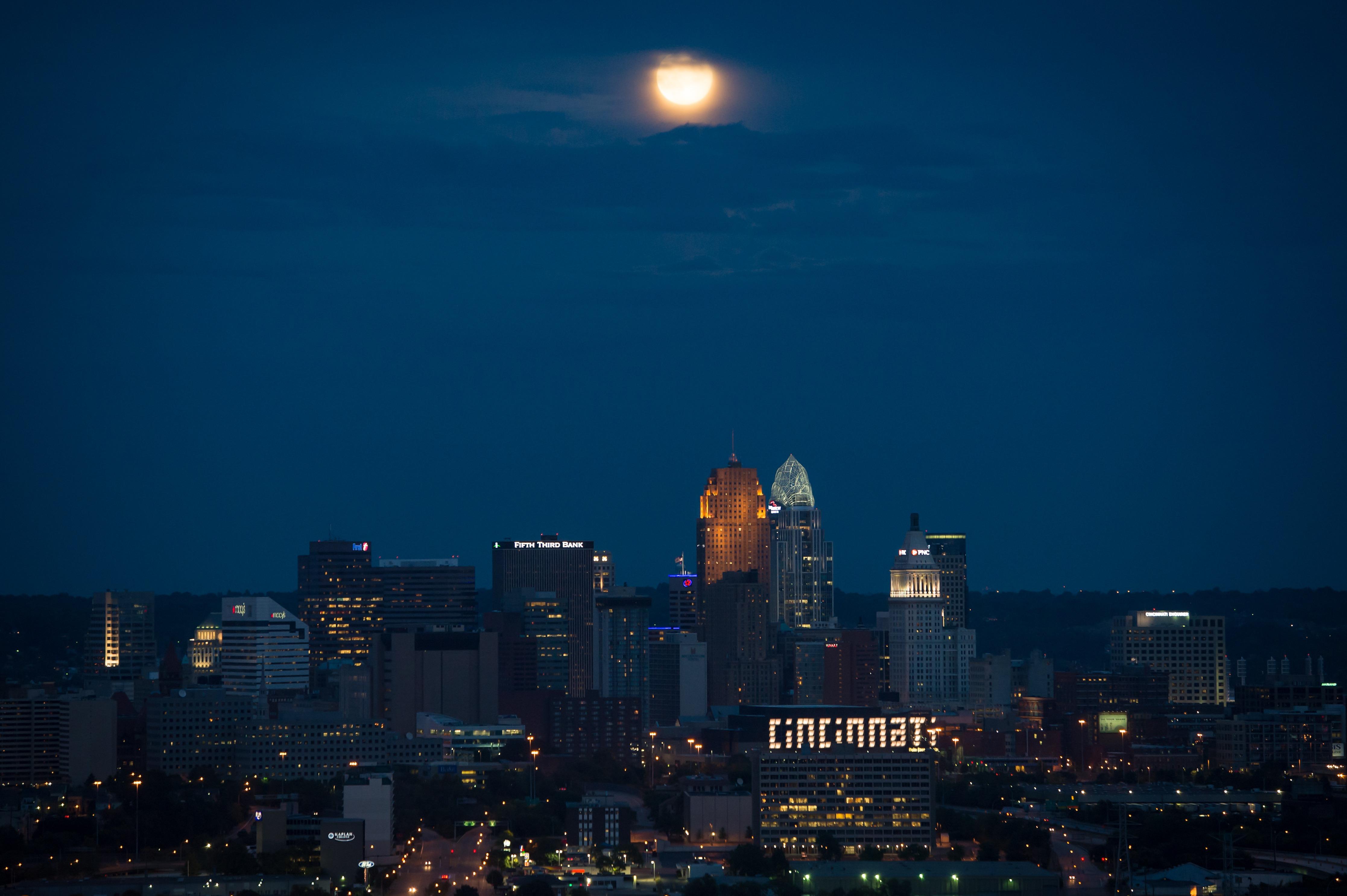 Horizon Architecture Sky Skyline Night Dawn City Urban Cityscape Dusk Evening Moon Lights Skyscrapers Buildings Ohio