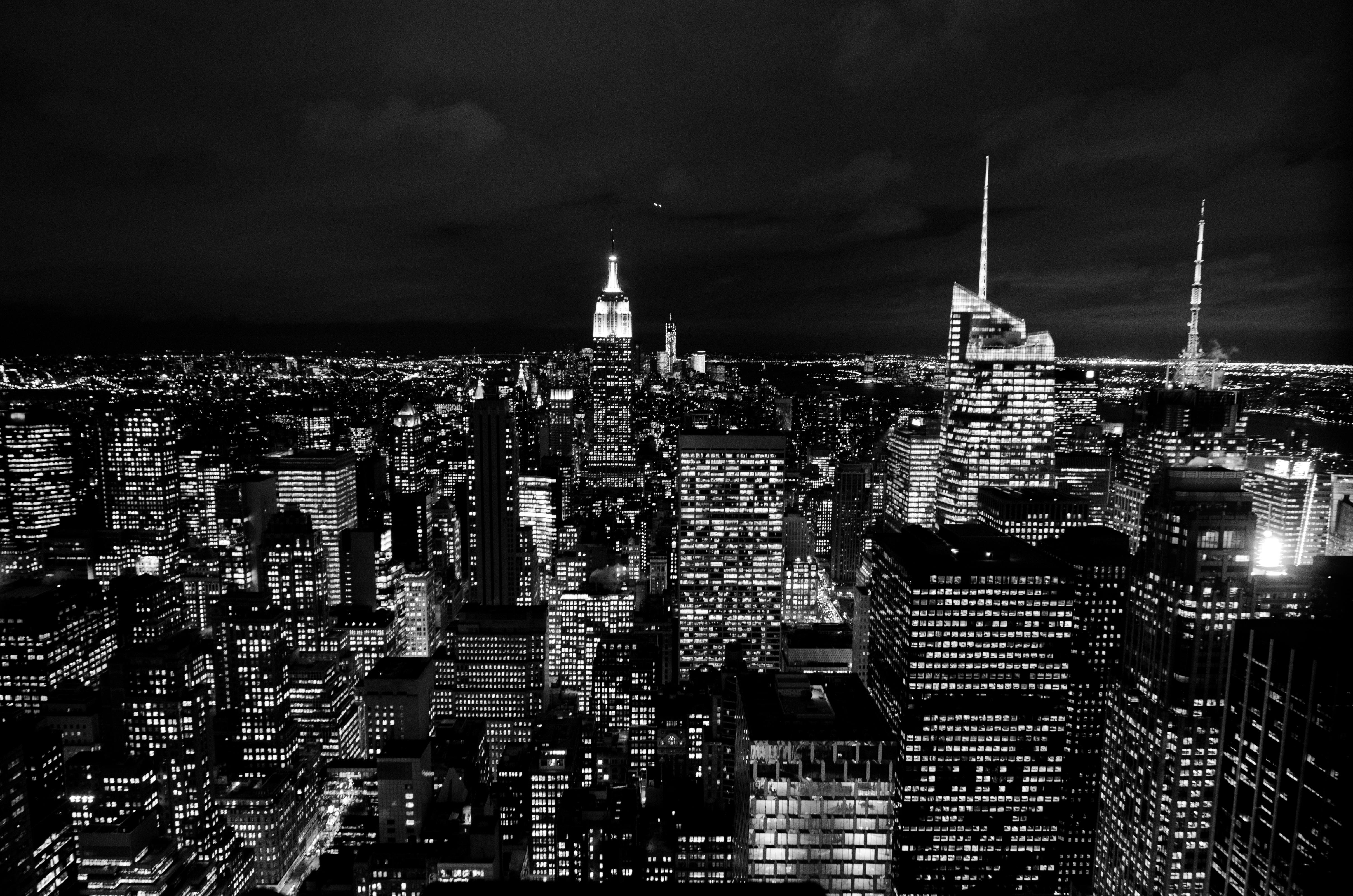 Free Images : horizon, black and white, skyline, night ...