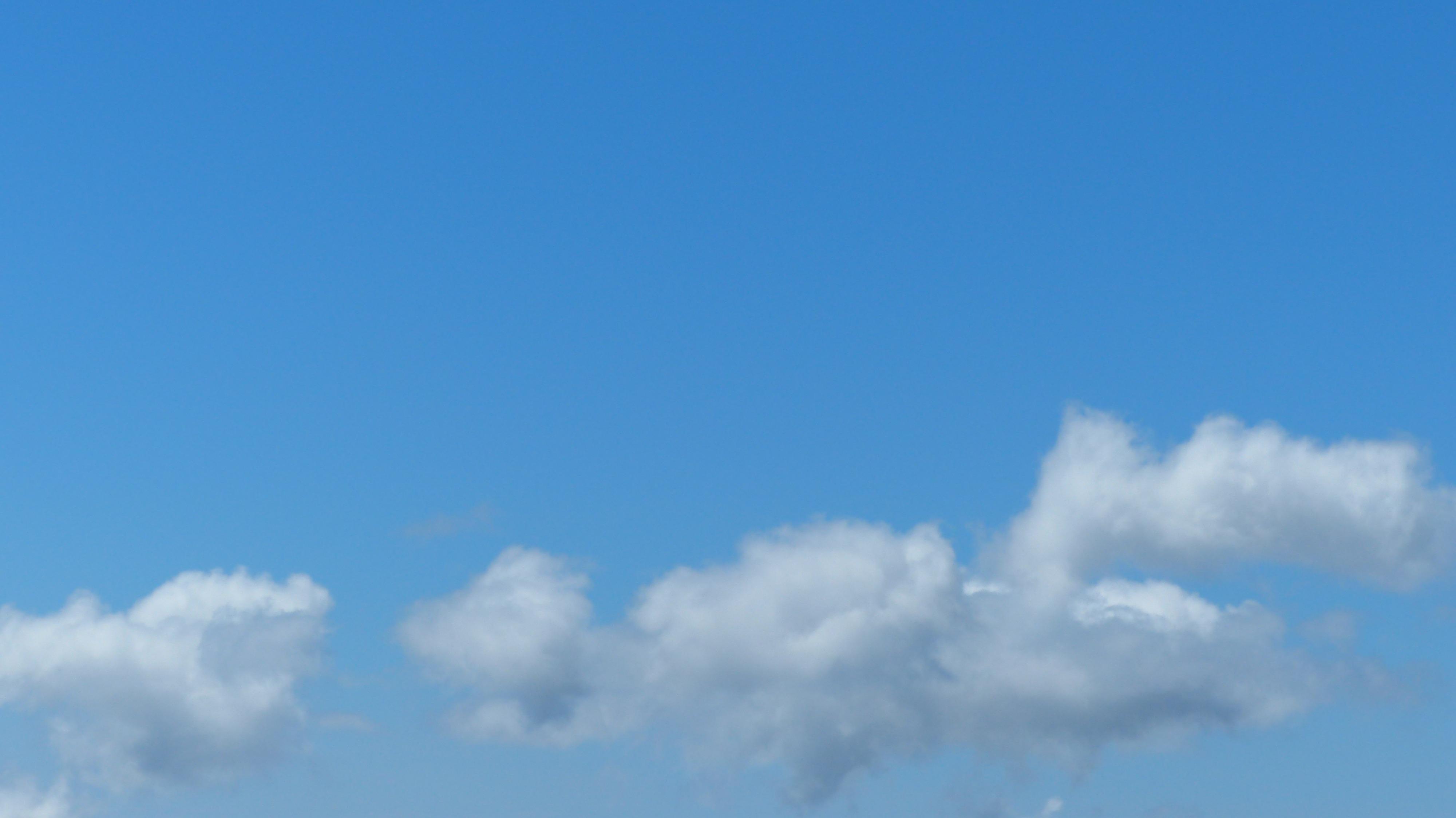 Gambar Horison Langit Suasana Siang Hari Gumpalan Awan Biru