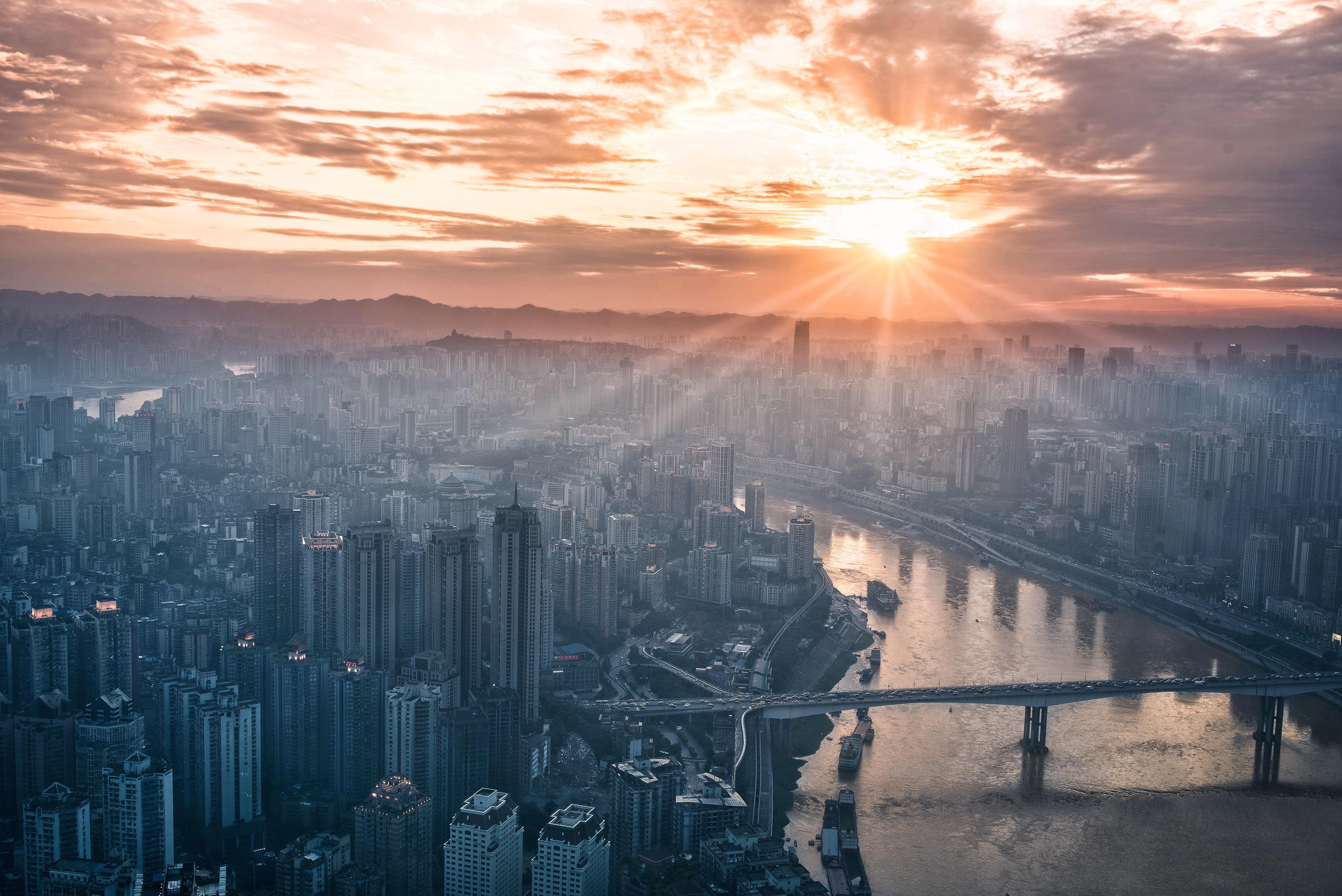 Horizon Cloud Sky Sunrise Sunset Skyline Sunlight Morning Dawn City Atmosphere Skyscraper Cityscape Dusk Daytime Evening