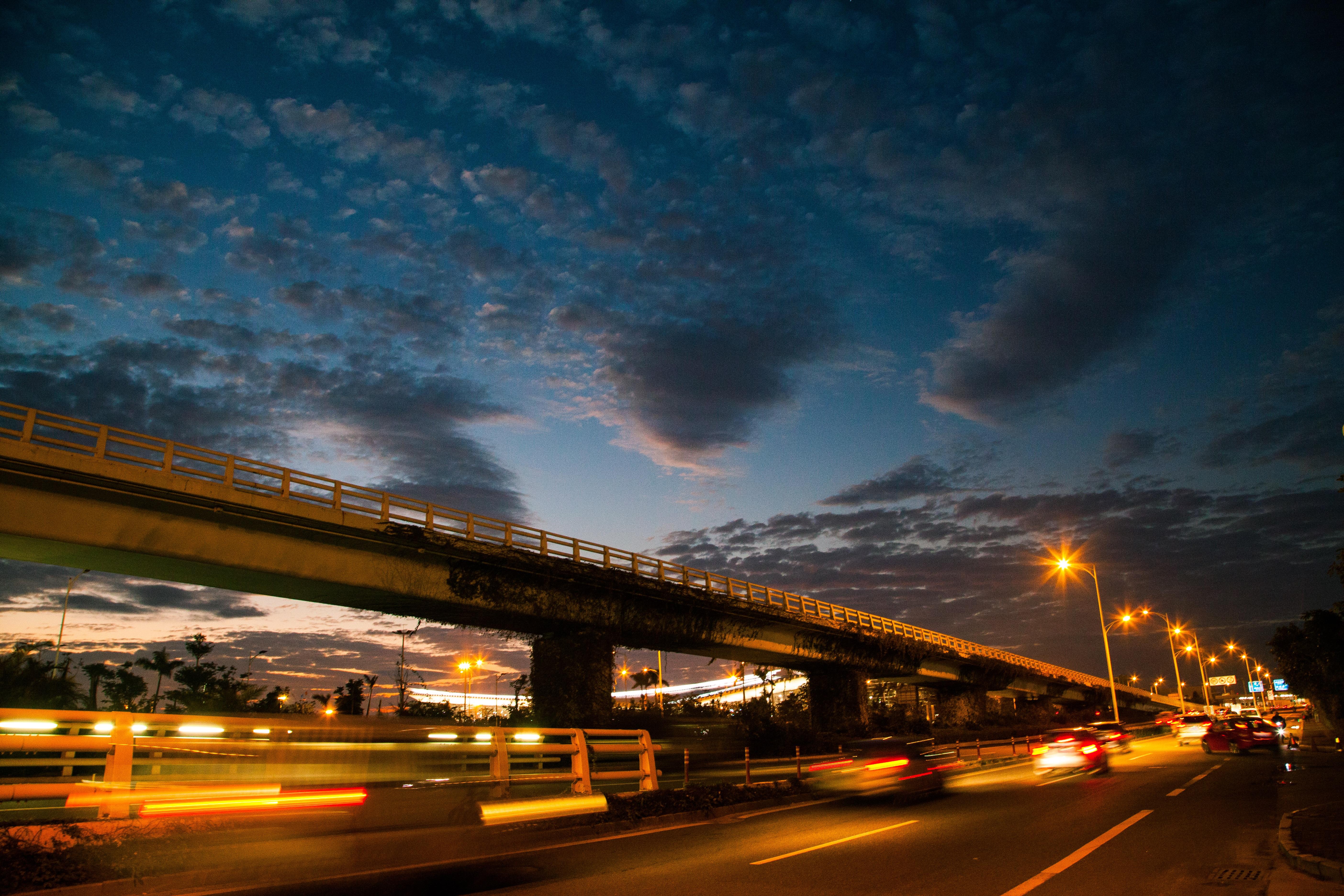 Horizon Light Cloud Sky Sunrise Sunset Road Bridge Traffic Night Morning  Highway Dawn Cityscape Dark Dusk