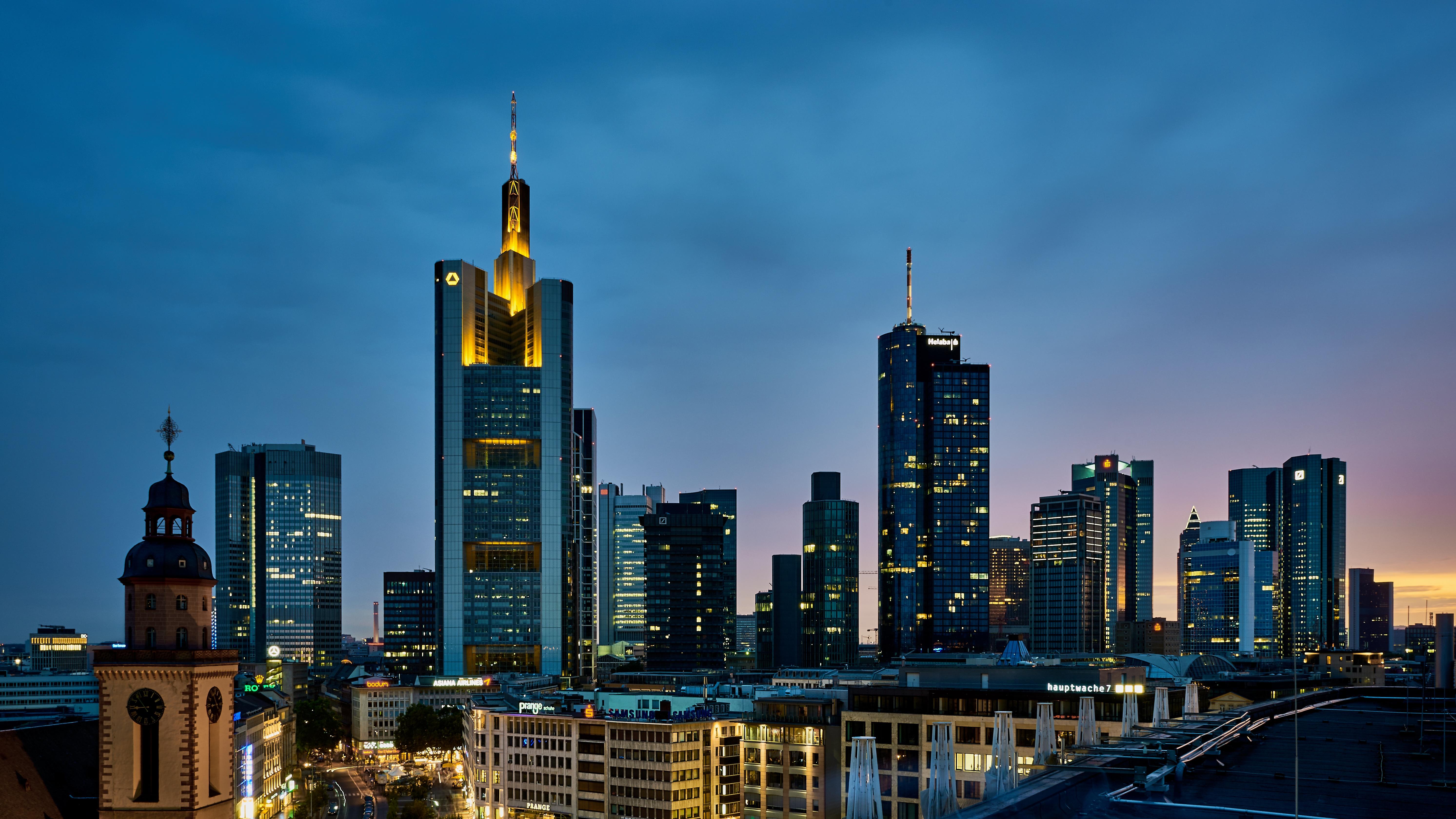 страны архитектура вечер город Франкфурт-на-Майне Германия  № 155573 загрузить