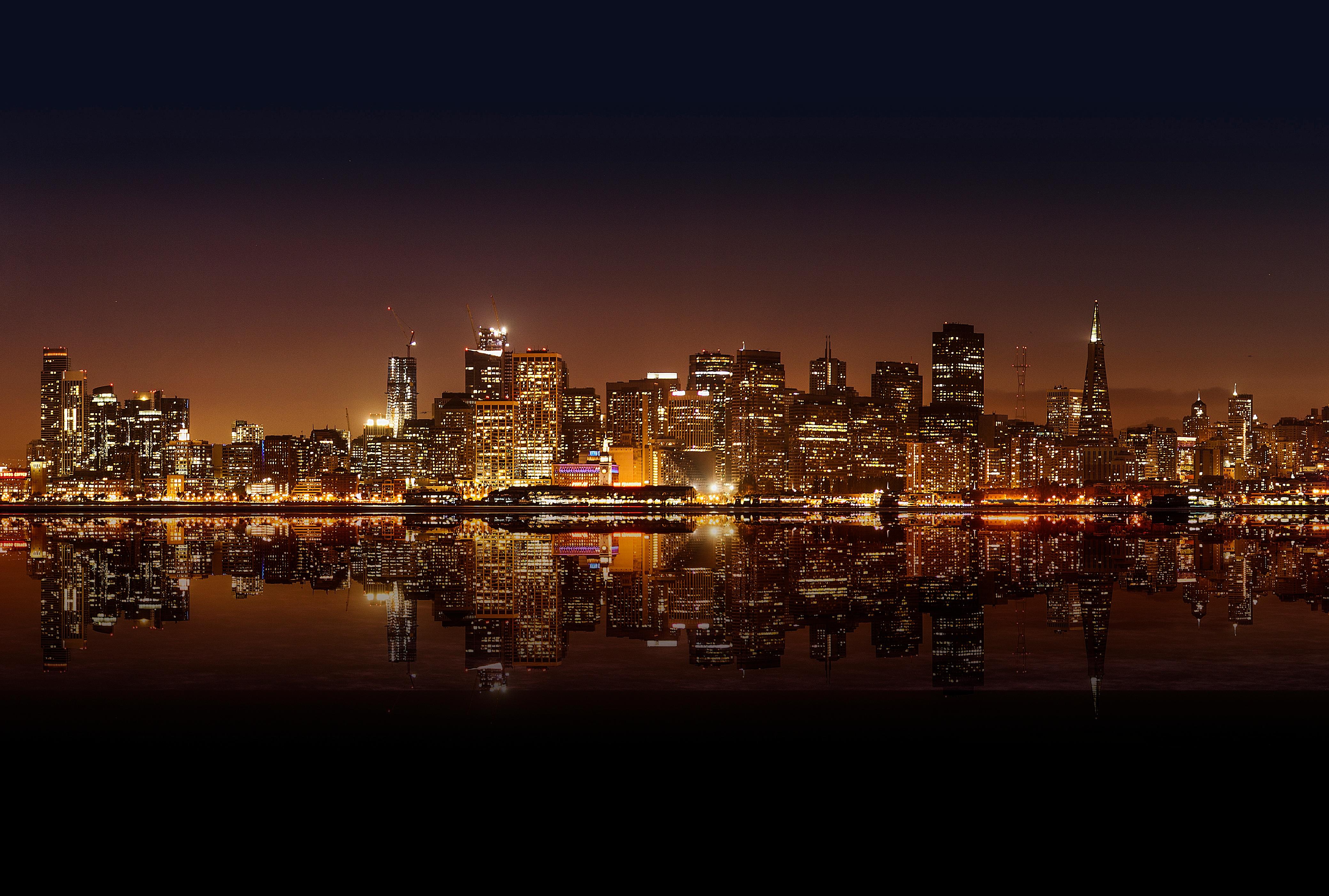 небоскреб отражение огни вечер город без смс