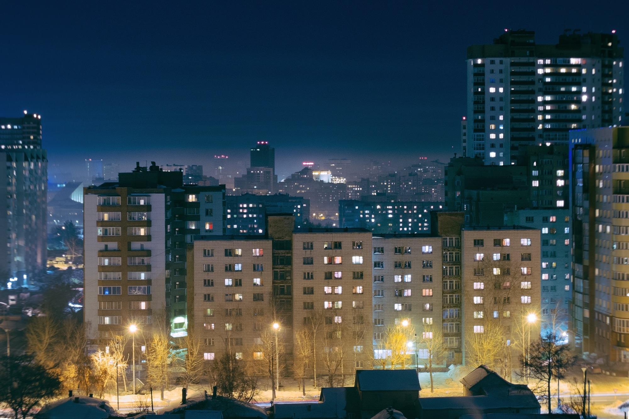 качестве картинки домов в городе ночью вялости или