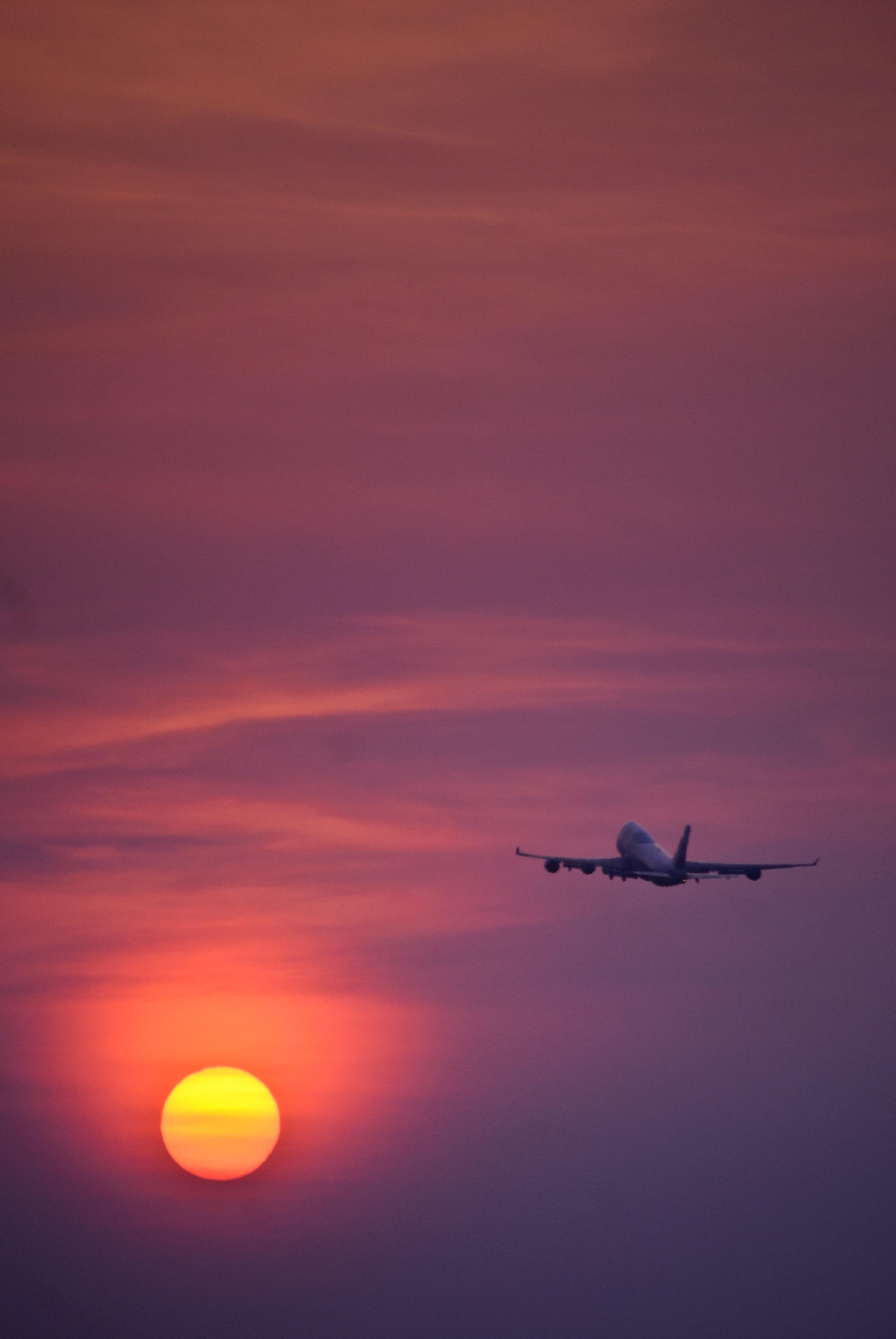 Самолет картинки закат